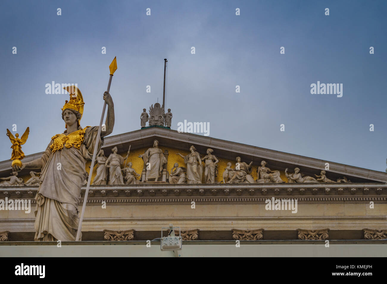 Athena the defender statue. The goddess of science and wisdom, Located in front of the Austrian Parliament in Vienna - Stock Image