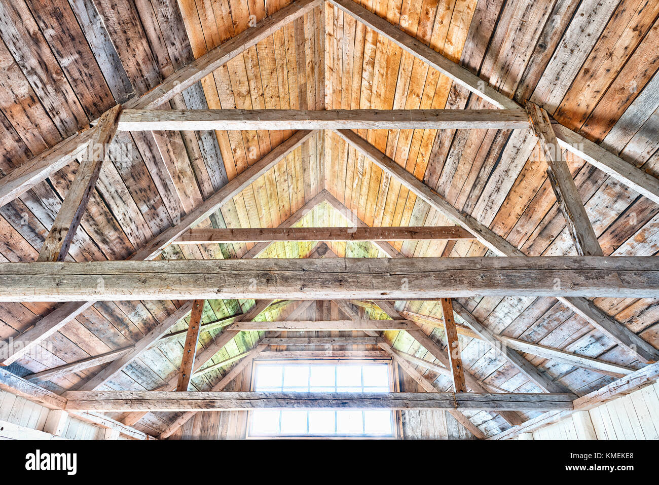 Vibrant Colorful Wooden Interior Of Old Abandoned House With Window Sunlight Sun Rays During