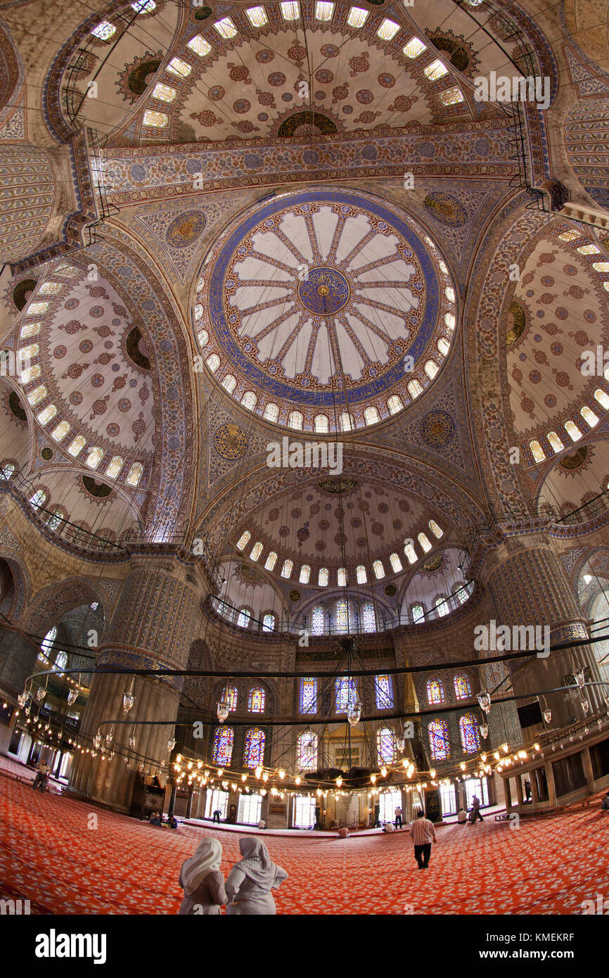 Interior of Blue Mosque, Istanbul, Turkey Moschee - Stock Image