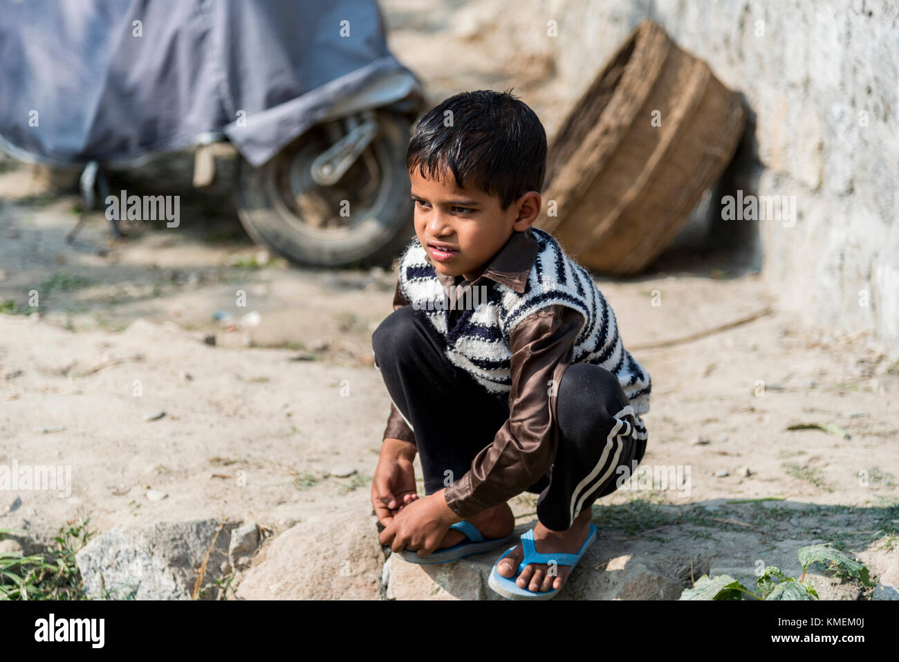 Portrait of a young Indian boy - Stock Image
