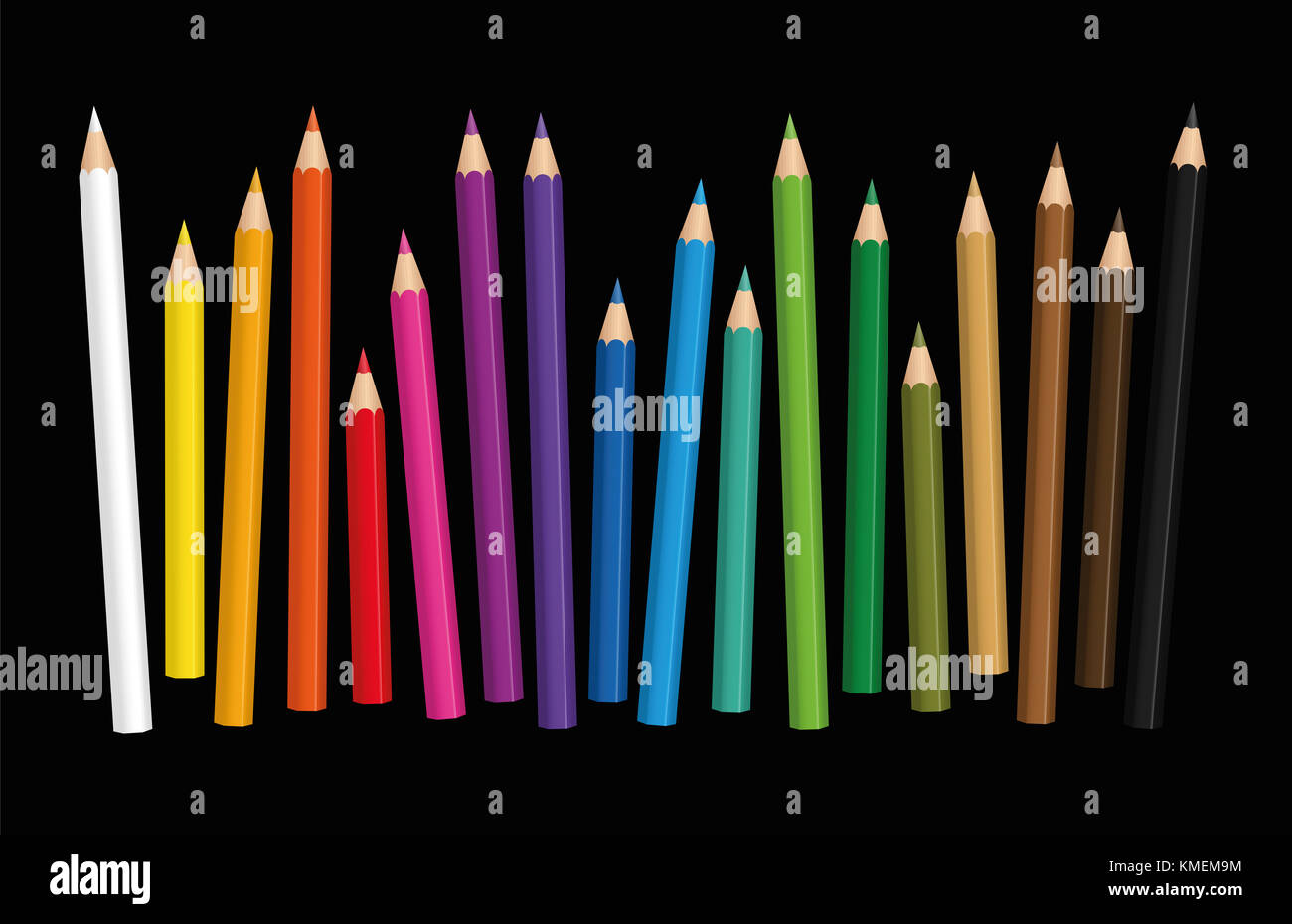 Crayons - loosely arranged colorful set of pencils in different lengths with wood textured tips, upright standing - Stock Image