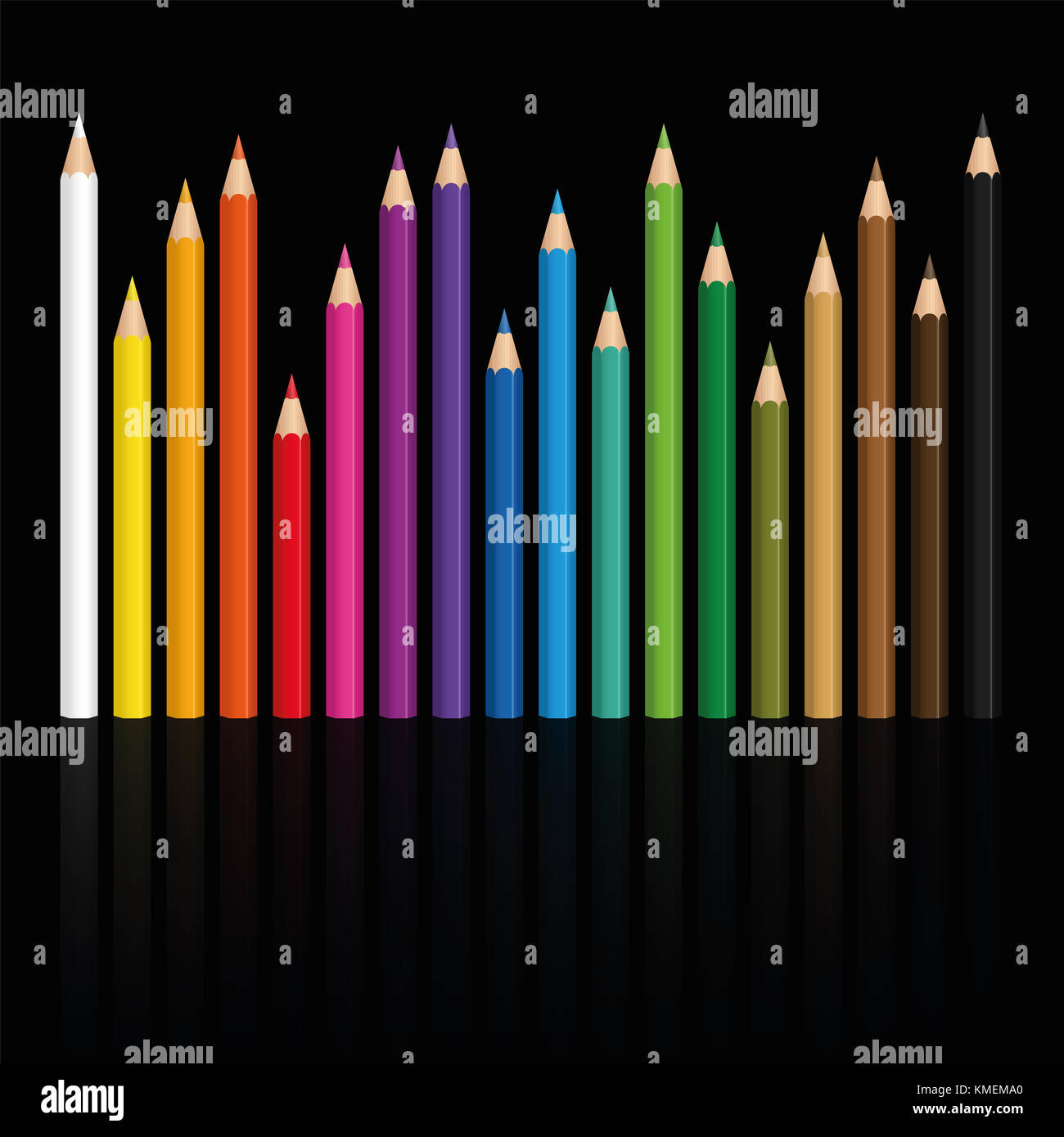 Crayons - colorful set of pencils in different lengths with wood textured tips, upright standing in a row like a - Stock Image
