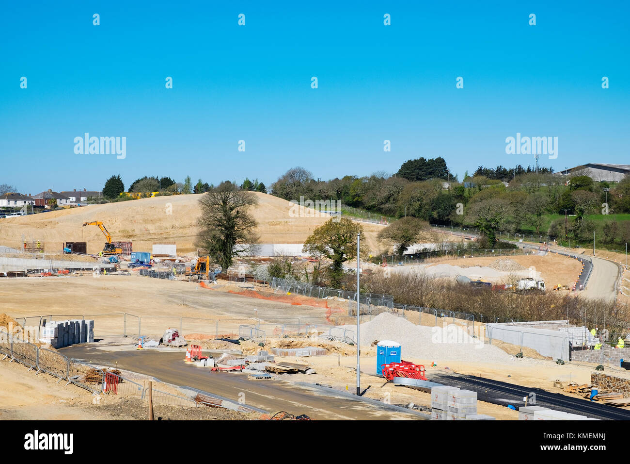 new housing and commercial development on green belt land, truro, cornwall, england, britain, uk. - Stock Image