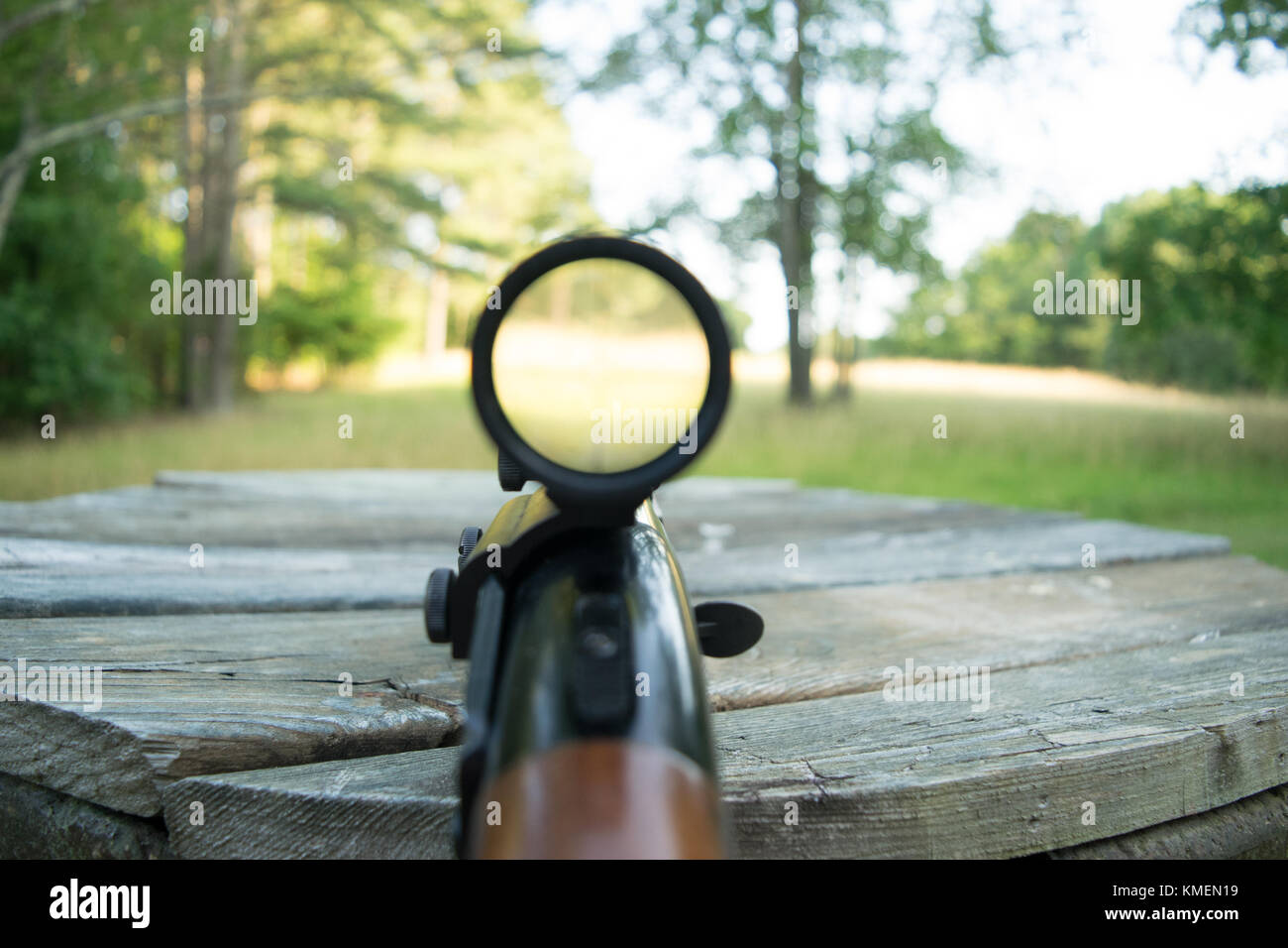 Looking Down The Barrel Of A Shot Gun In An Open Field Stock Photo Alamy