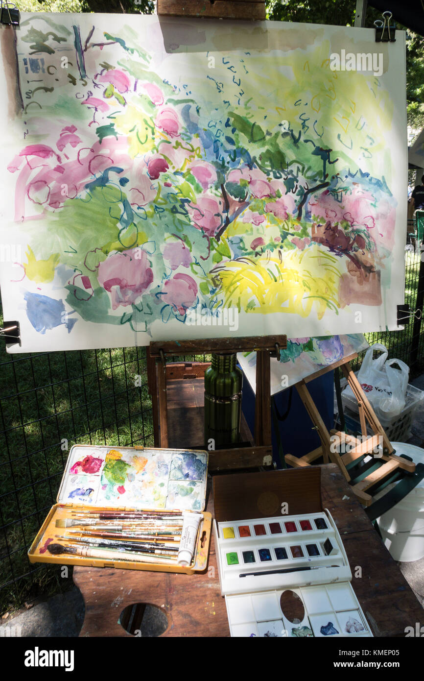 Painting in Progress, Madison Square Park, NYC - Stock Image