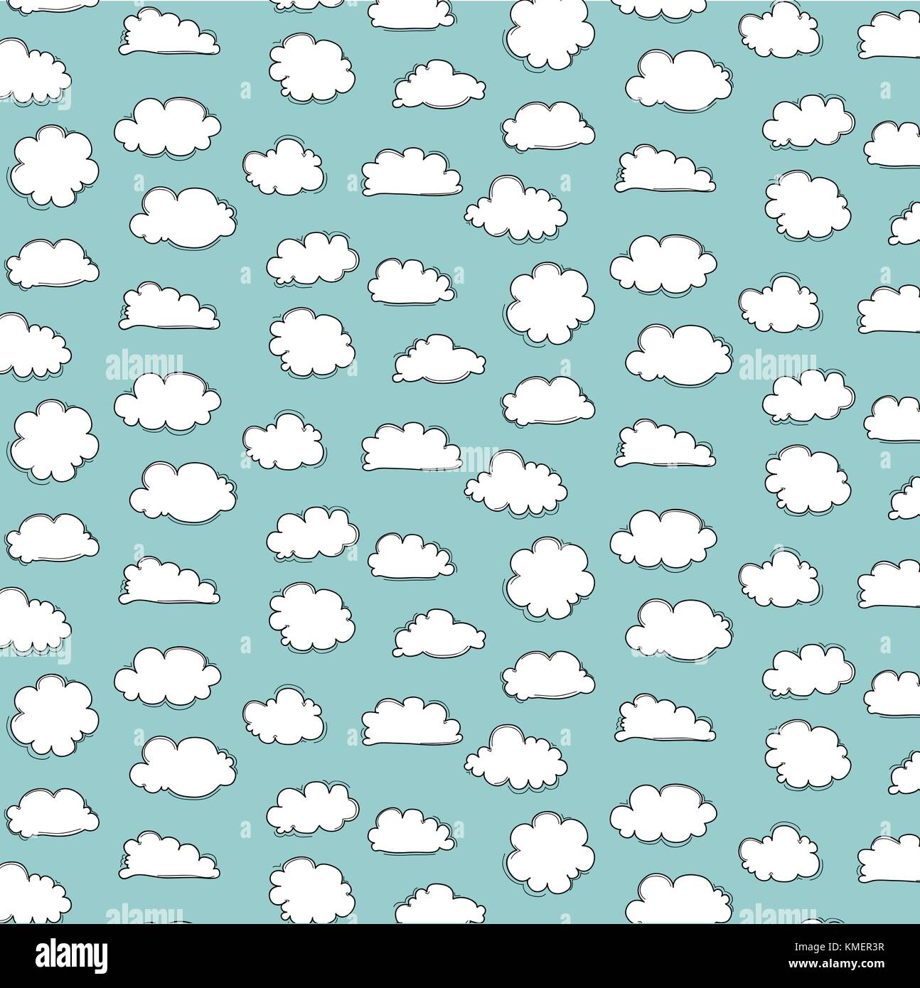 Cute Cloud Patterns With Blue Background Stock Vector Art