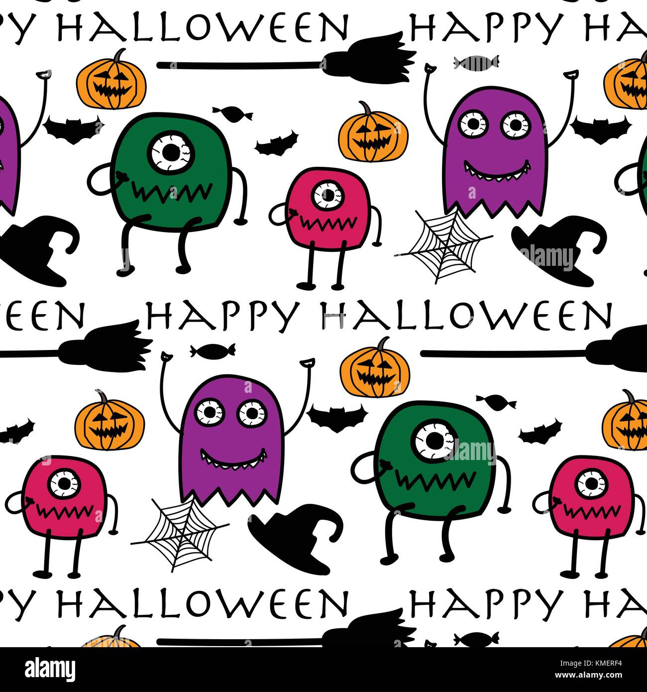 Hand Drawn Pattern With Monsters Halloween