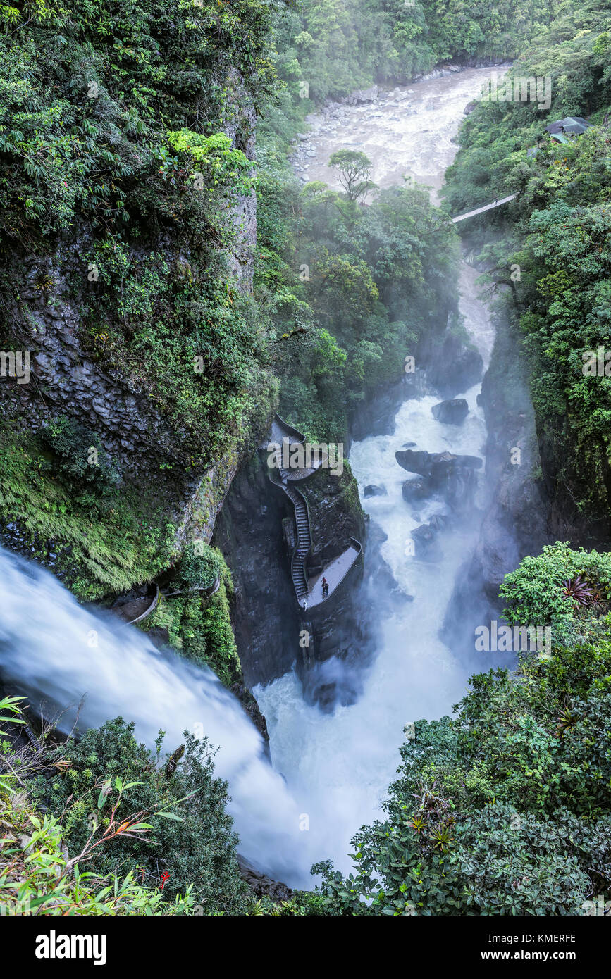 Waterfall Pailon del Diablo in the Andes mountain rainforest. Banos. Ecuador - Stock Image