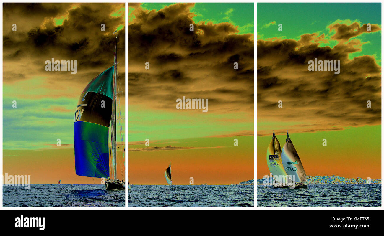 Costa Smeralda Sardinia, maxi yacht regatta. (Triptych: picture molded into 3 fields for printing decorative panels)i - Stock Image