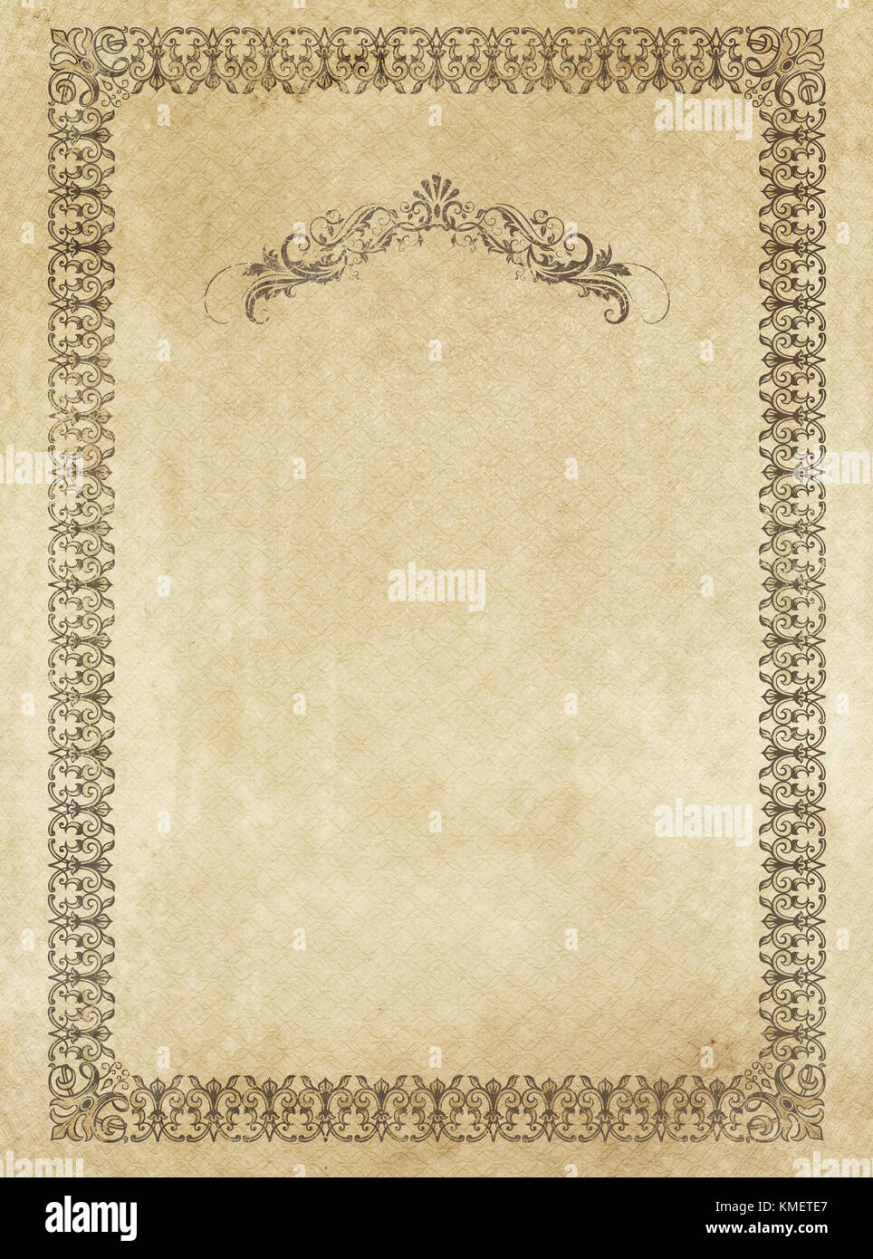 Old paper background with decorative vintage border. - Stock Image