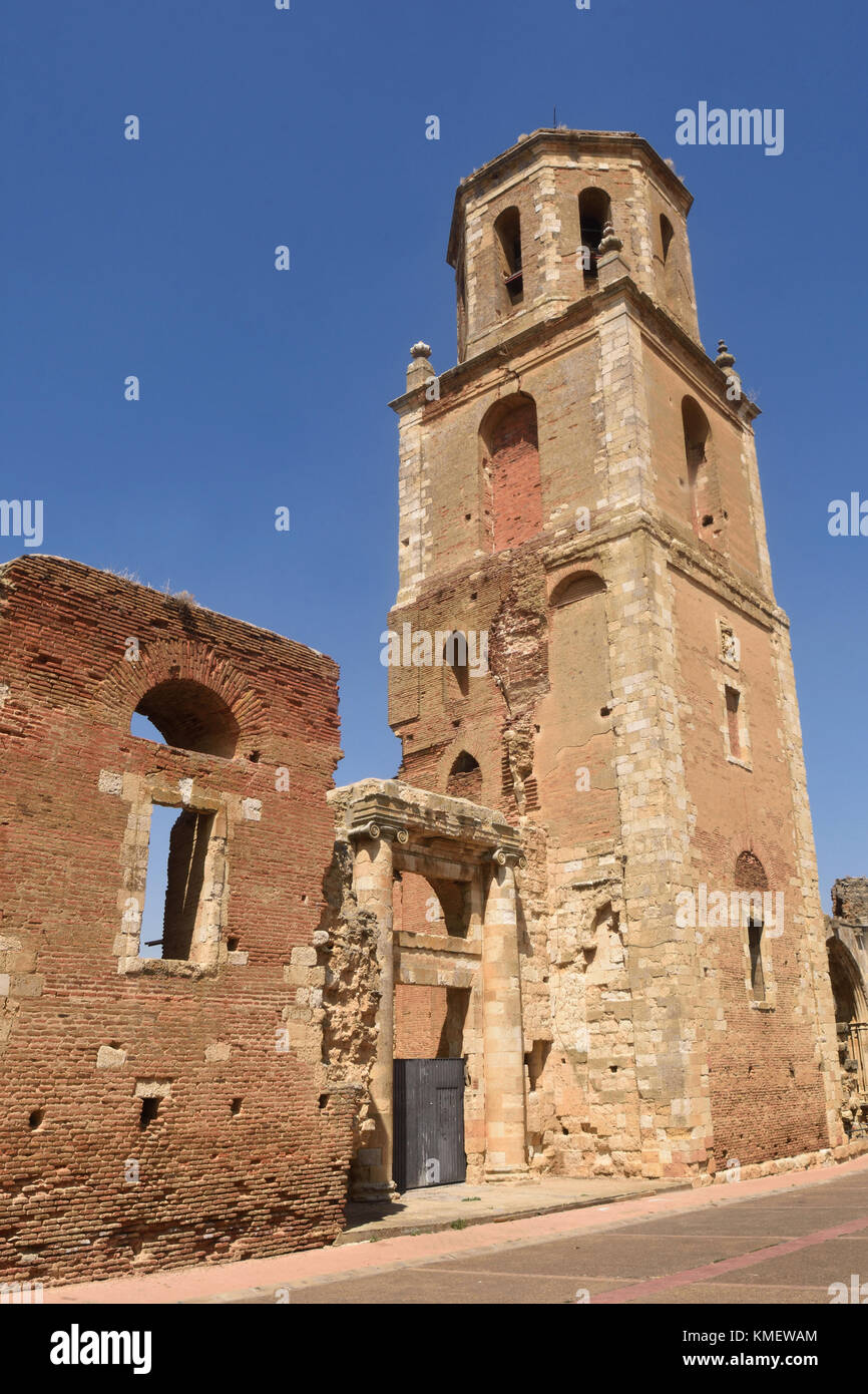 Monastery of San Benito and the ruins of the Monastery of San Facundo and San Primitivo,Sahagun, Spain - Stock Image