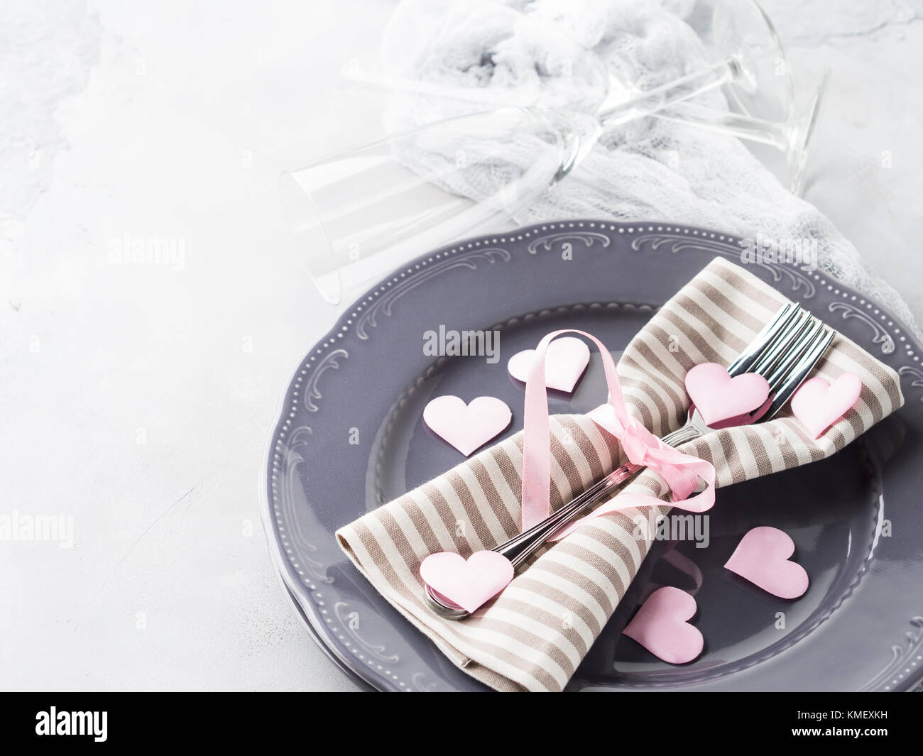 Romantic dinner date plates hearts love symbol with ch&agne glasses on gray. Valentineu0027s woman day & Romantic dinner date plates hearts love symbol with champagne ...