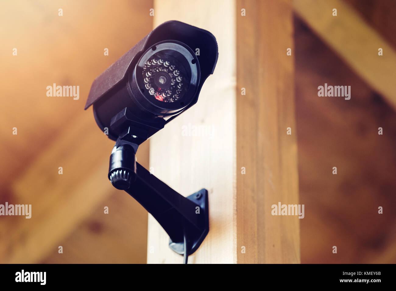 black security surveillance camera - Stock Image
