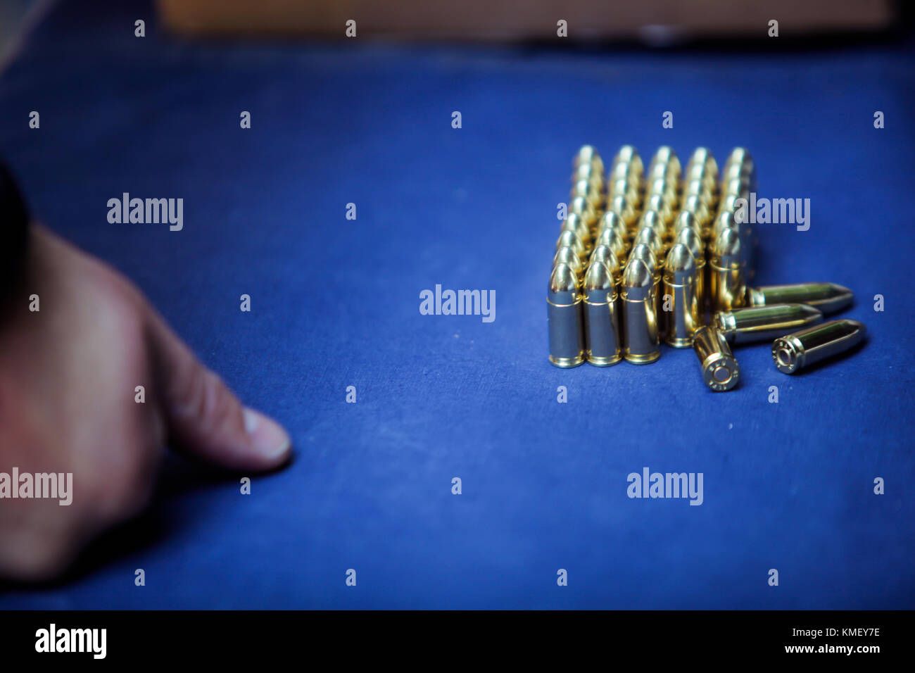 9 mm ammunition on display on a shooting range - Stock Image
