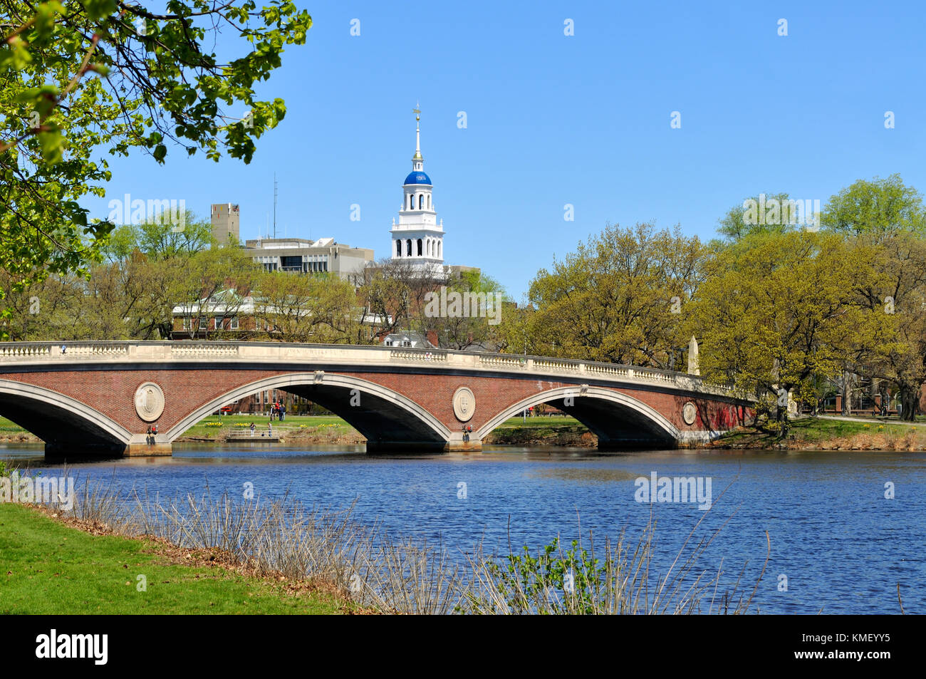 Brick footbridge and blue dome of Lowell House. Harvard University in Cambridge, Massachusetts. Stock Photo