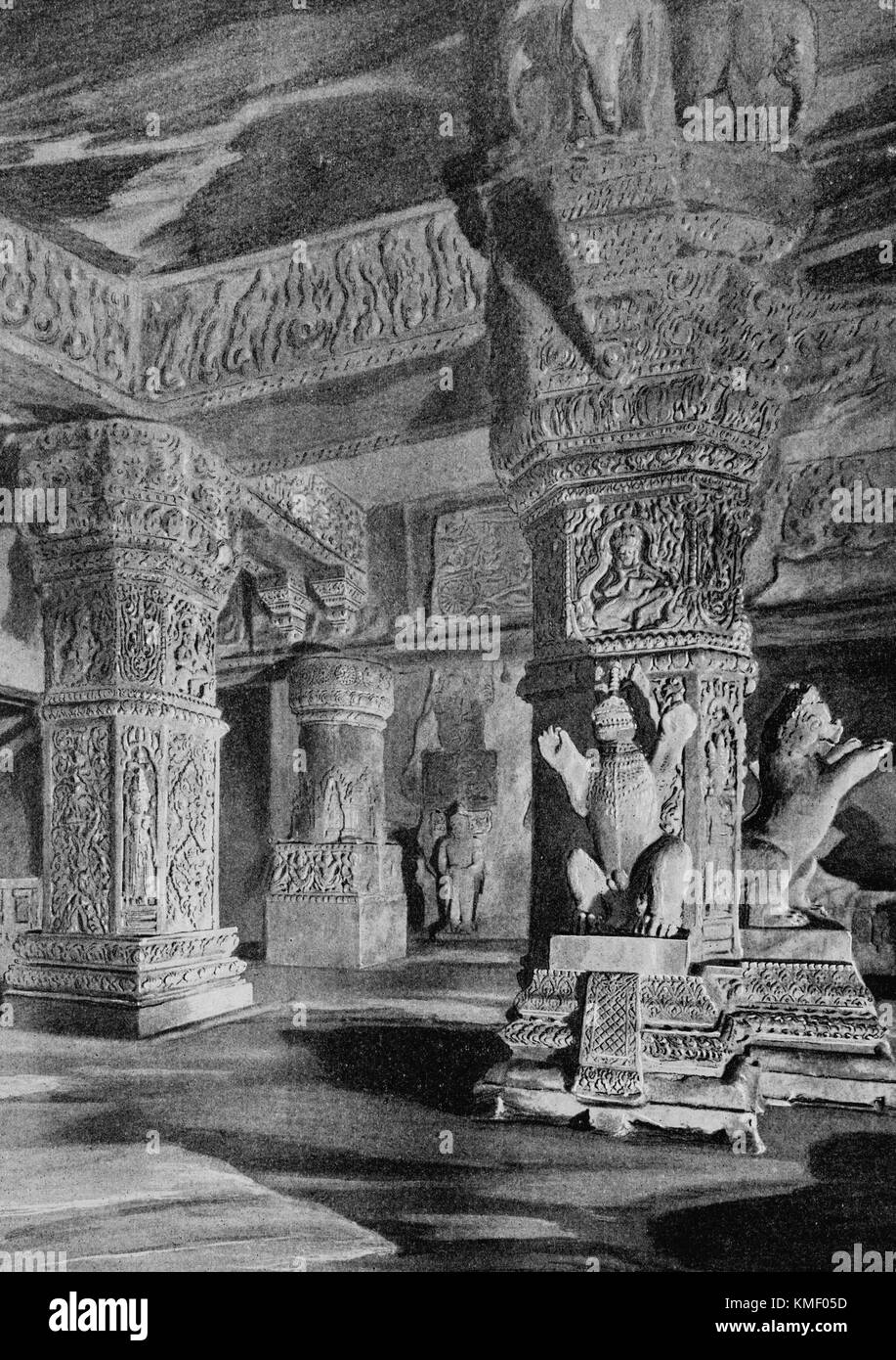 French Indochina Pavilion, Underground room of a Khmer temple, Universal Exhibition 1900 in Paris, Picture from Stock Photo