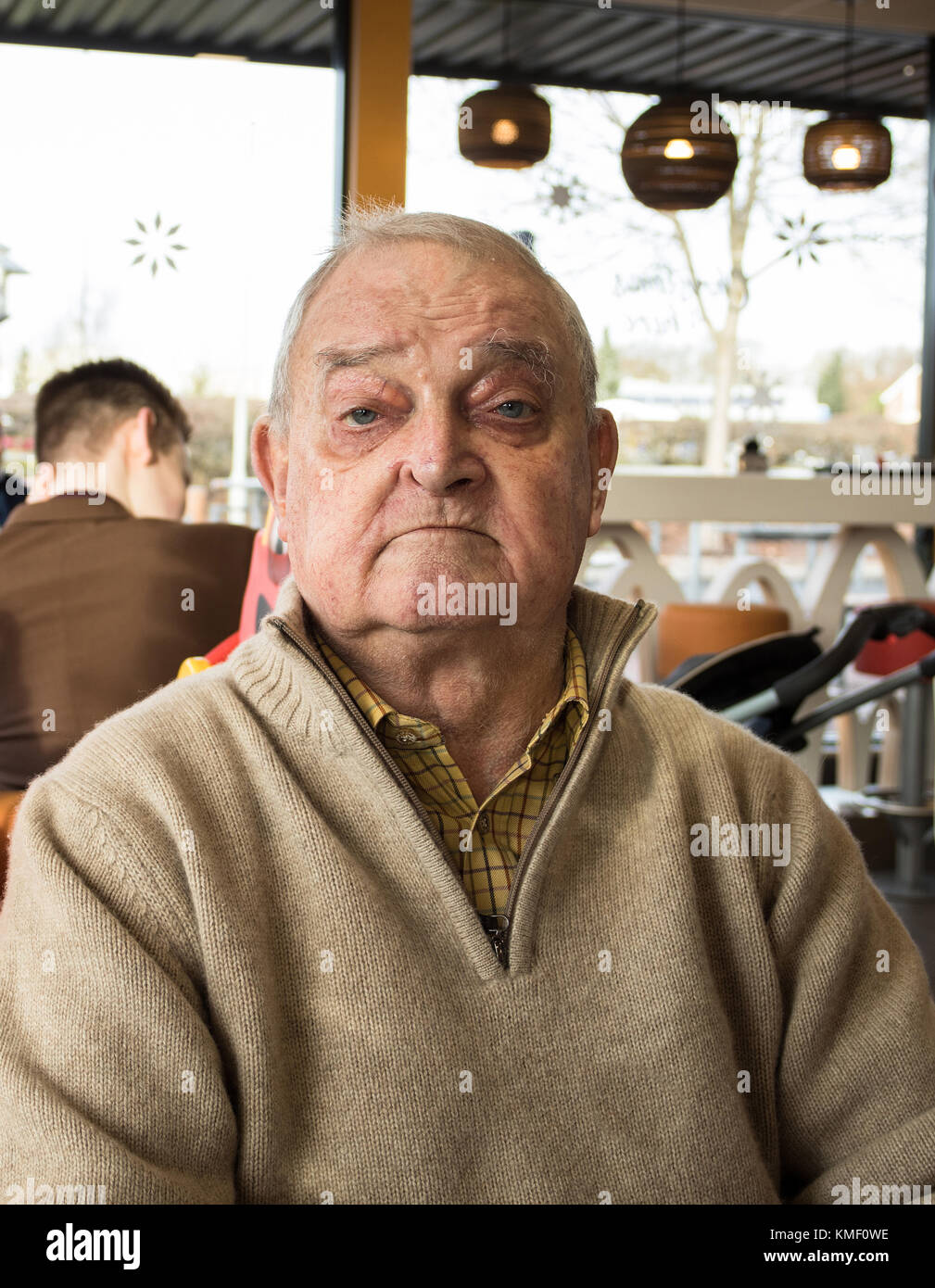 A sad,tired, and confused old English man. - Stock Image