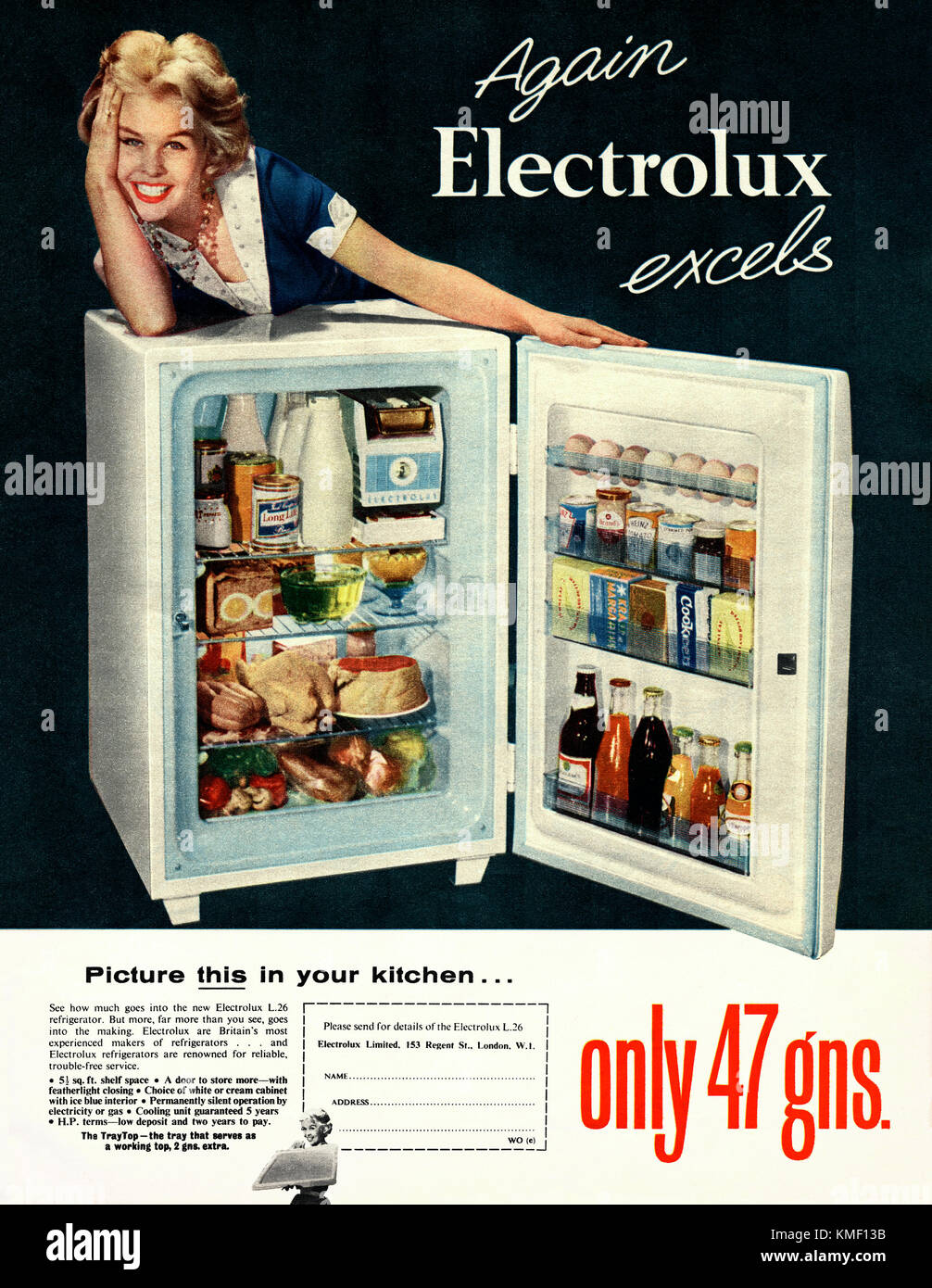 Old advert for an Electrolux refrigerator. It appeared in a magazine published in the UK in 1959. The photograph - Stock Image