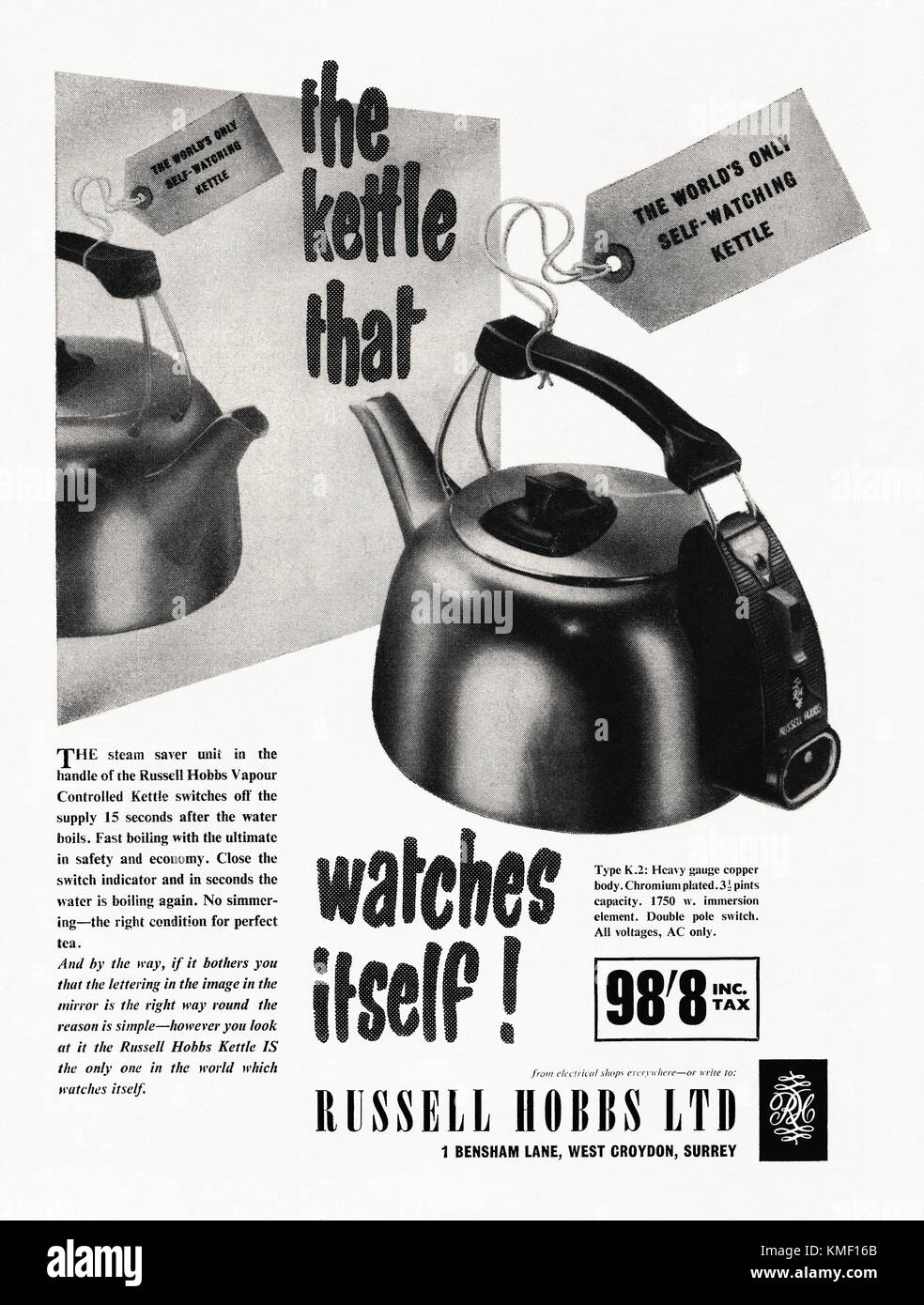 Russell Hobbs K2 kettle - it that the electric kettle the only self-watching one (meaning that it switches off automatically - Stock Image