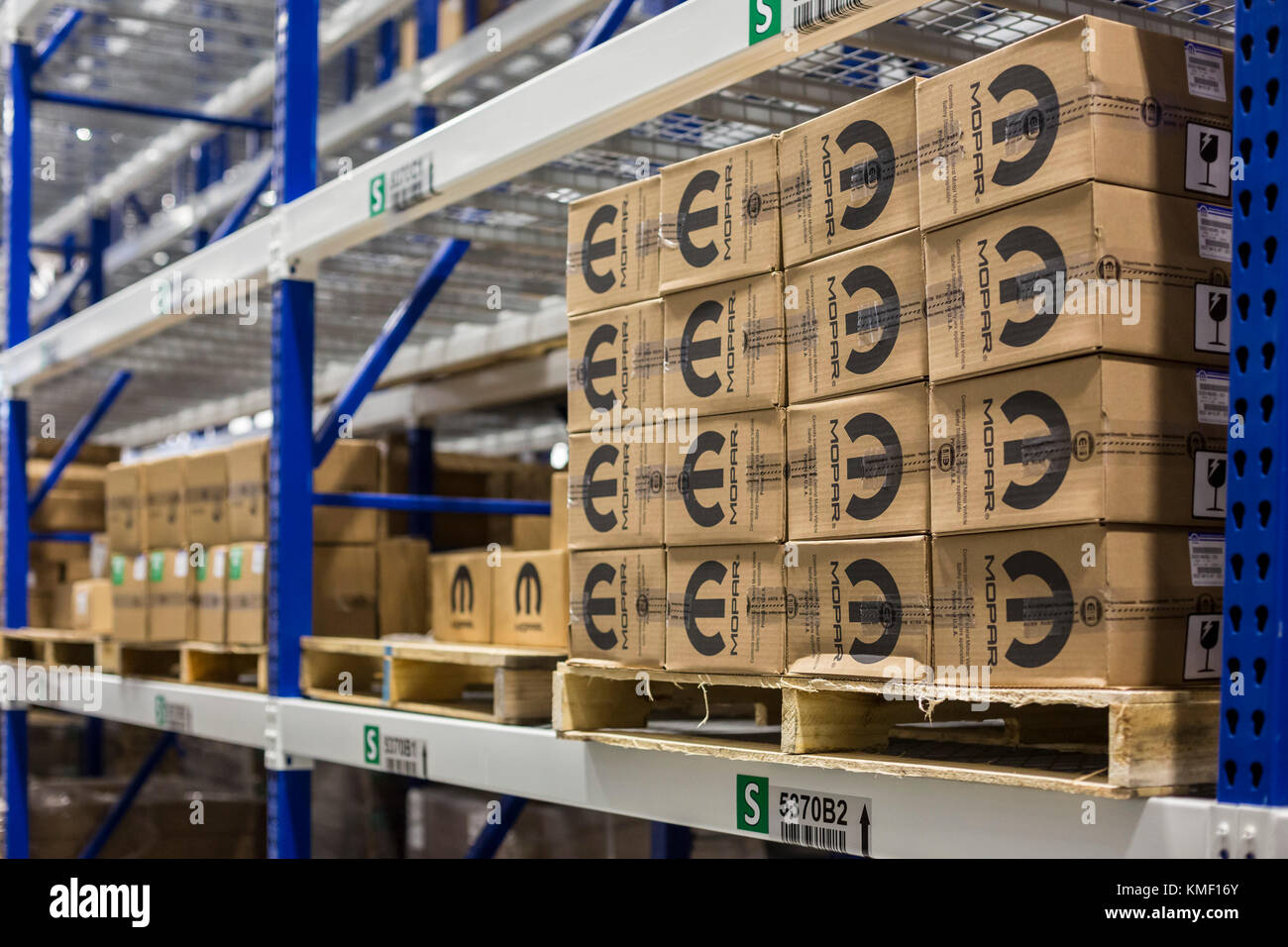 Romulus, Michigan - A Mopar auto parts distribution center. Mopar is the auto parts operation of Fiat Chrysler Automobiles. - Stock Image