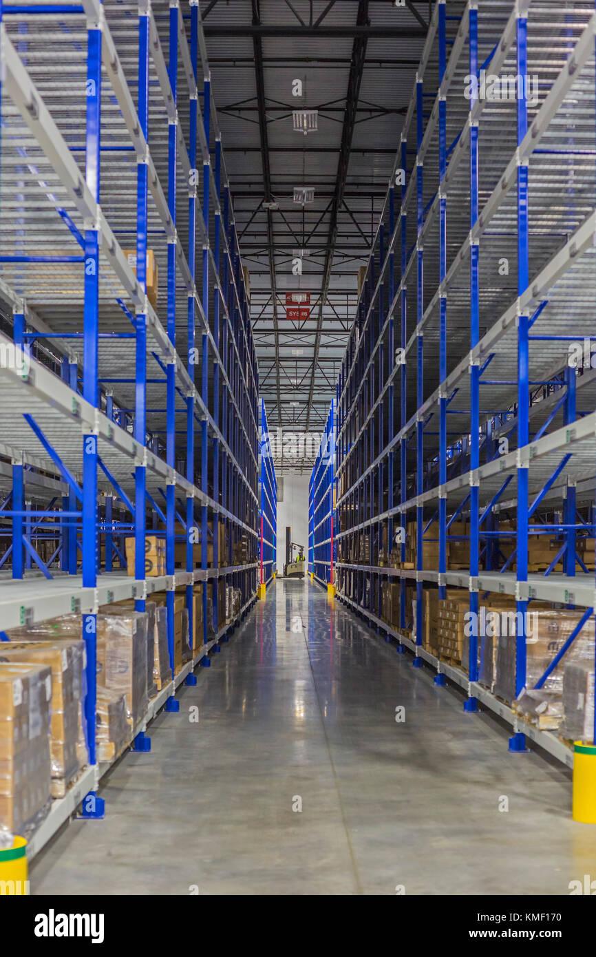 Romulus, Michigan - A Mopar auto parts distribution center. Mopar is the auto parts operation of Fiat Chrysler Automobiles. Stock Photo
