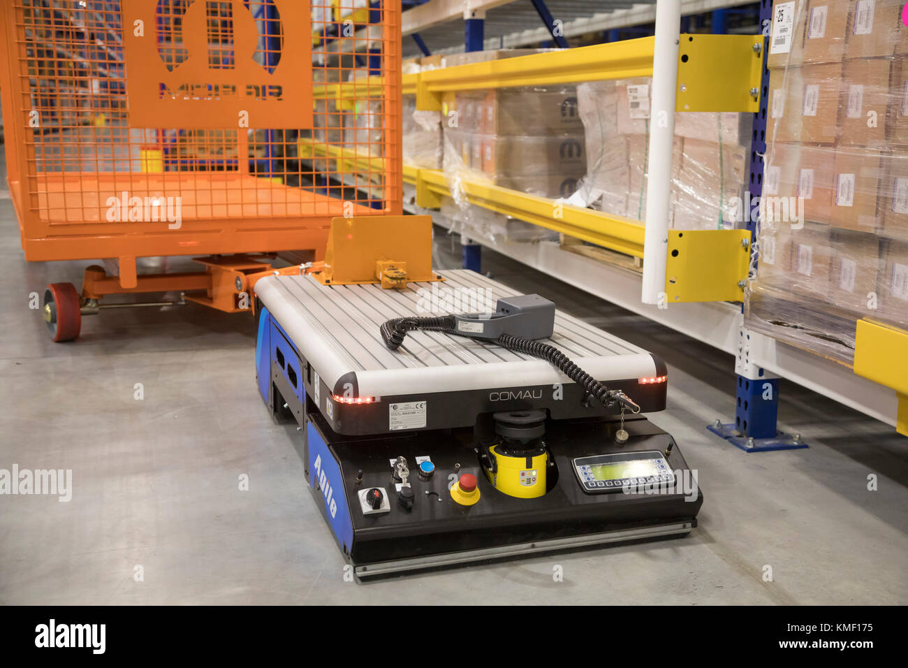 Romulus, Michigan - An automated guided vehicle can move parts at a Mopar auto parts distribution center. Mopar - Stock Image