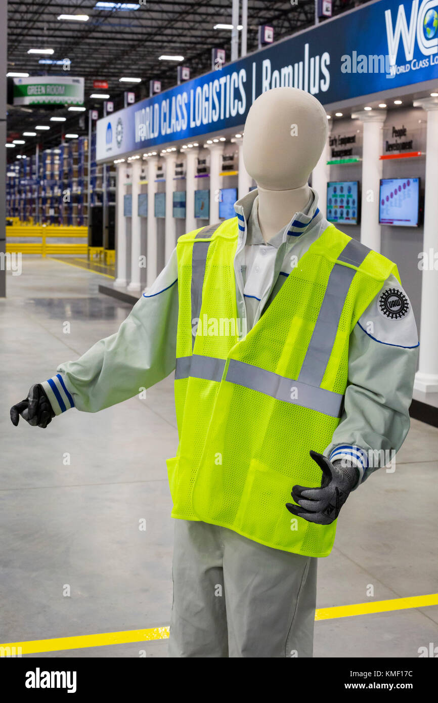 Romulus, Michigan - A mannequin wearing a safety vest and a United Auto Workers union emblem at a Mopar auto parts - Stock Image