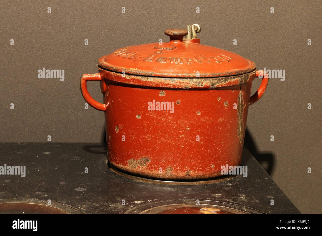 Maihingen, kitchen, cooker, Danube ream, Swabian, Bavaria, Germany, ream museum, civilised country ream, Kueche, - Stock Image