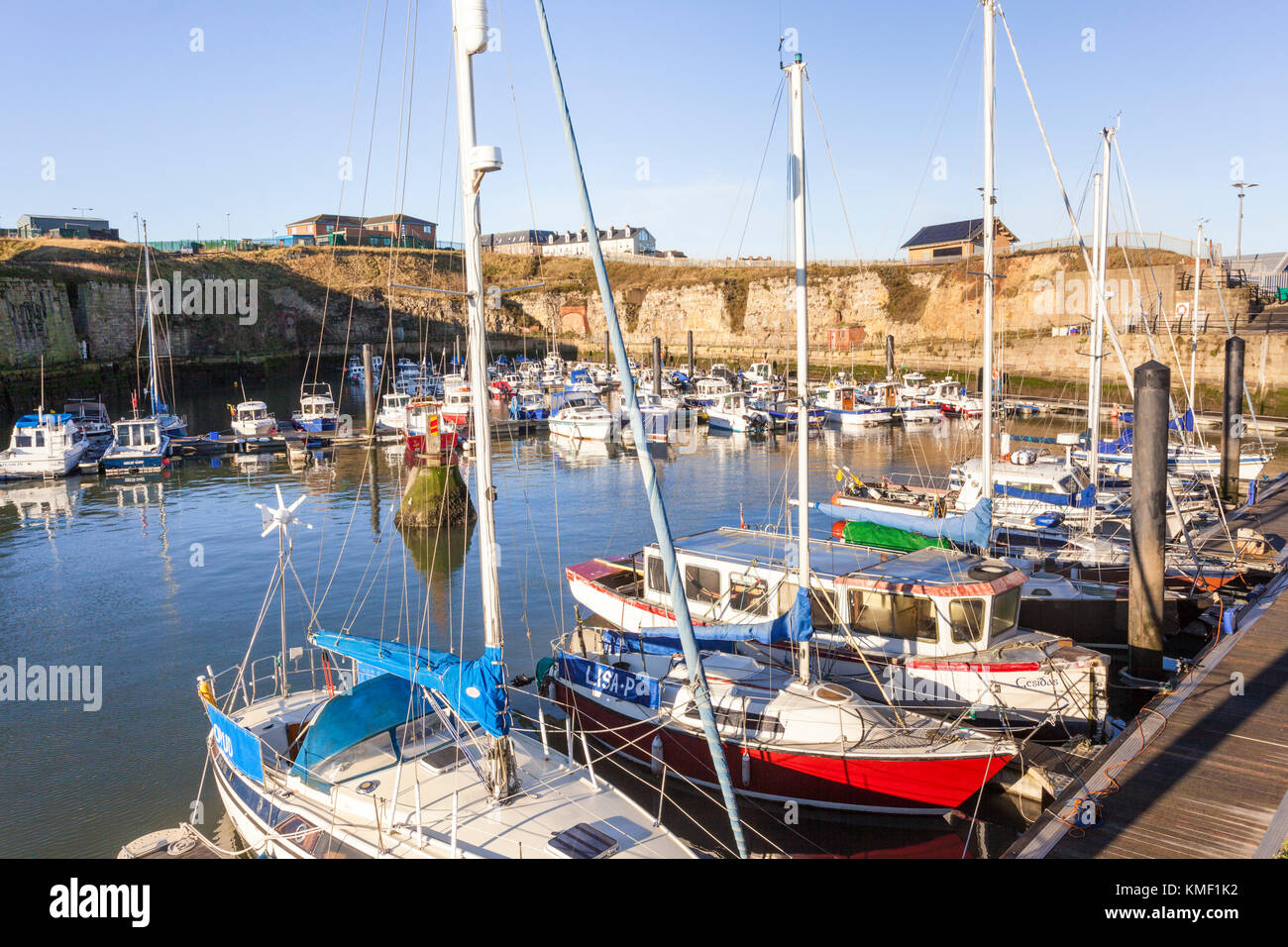 Boats in the marina at Seaham harbour, Durham UK - Stock Image