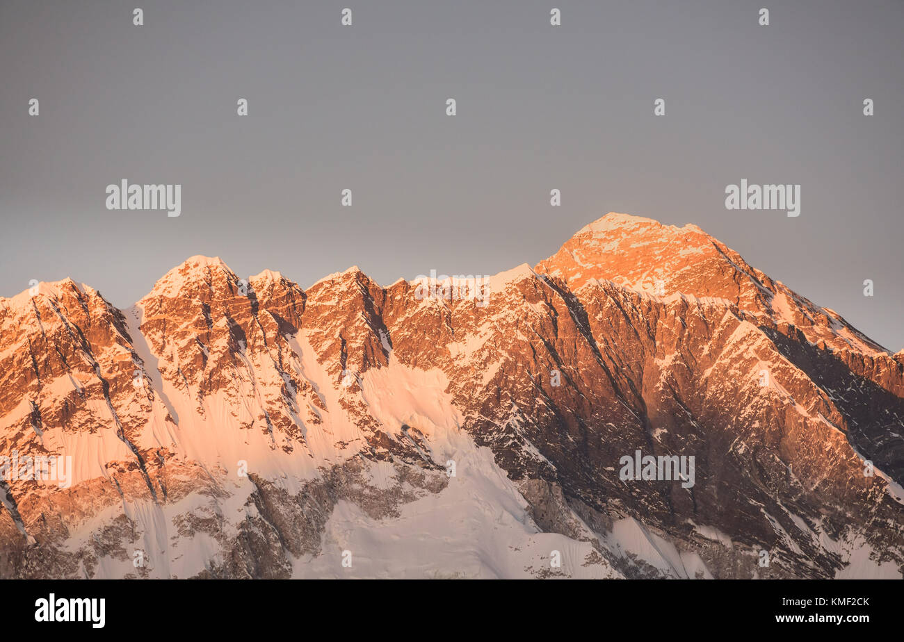 Sunset over Mount Everest viewed from Tengboche, Nepal Stock Photo