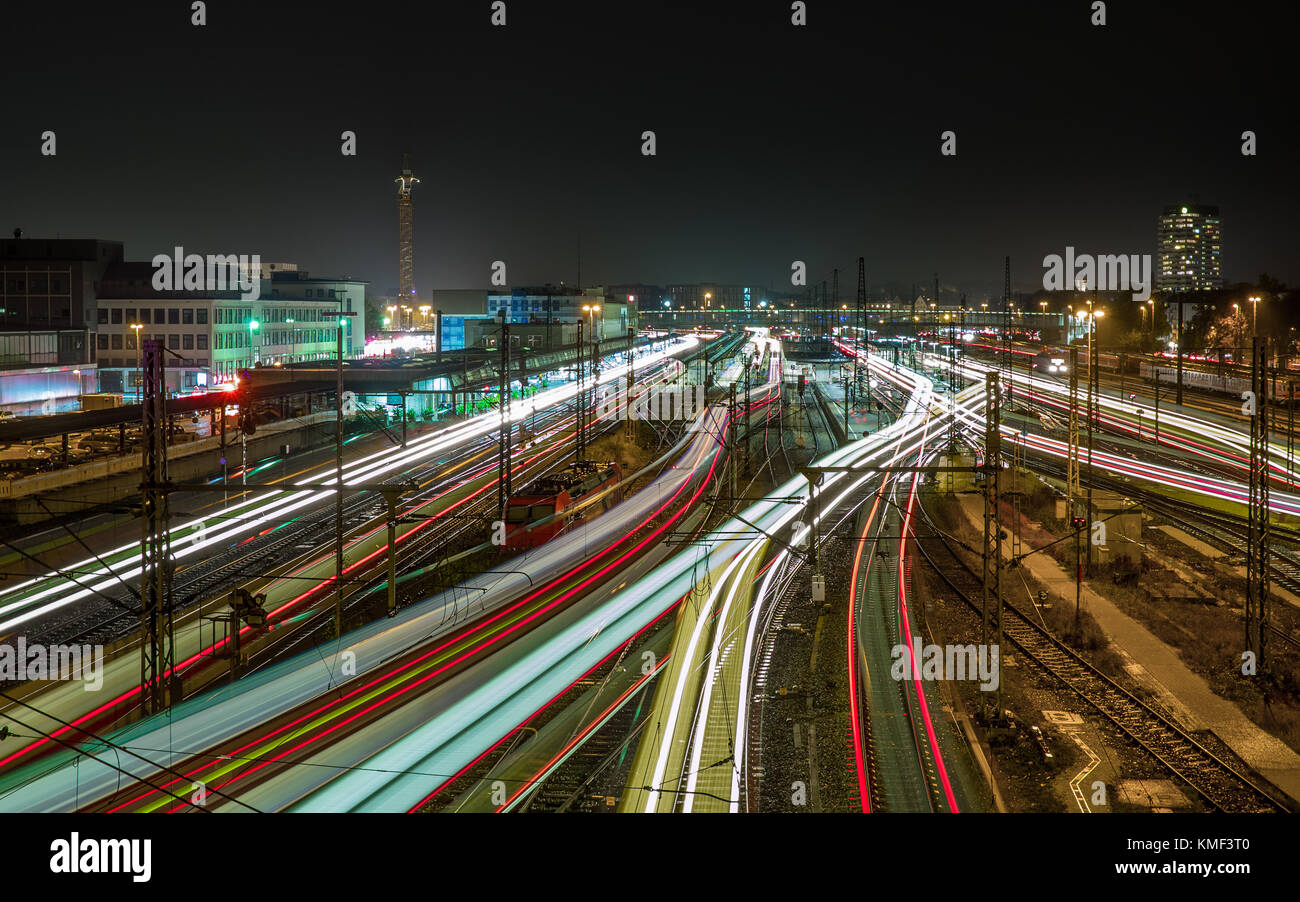 bulb exposure of ulm main station - Stock Image