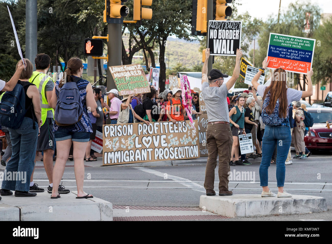 Tucson, Arizona - Hundreds joined a rally against Operation Steamline at the federal courthouse. The Department - Stock Image