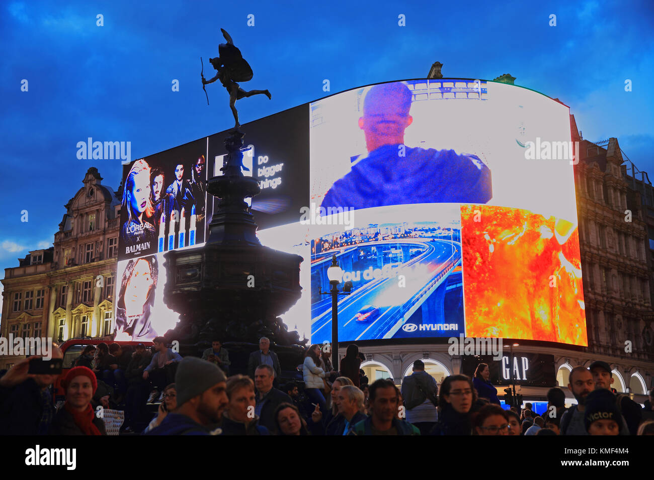 The new advertising screen at Piccadilly Circus, in London, UK - Stock Image