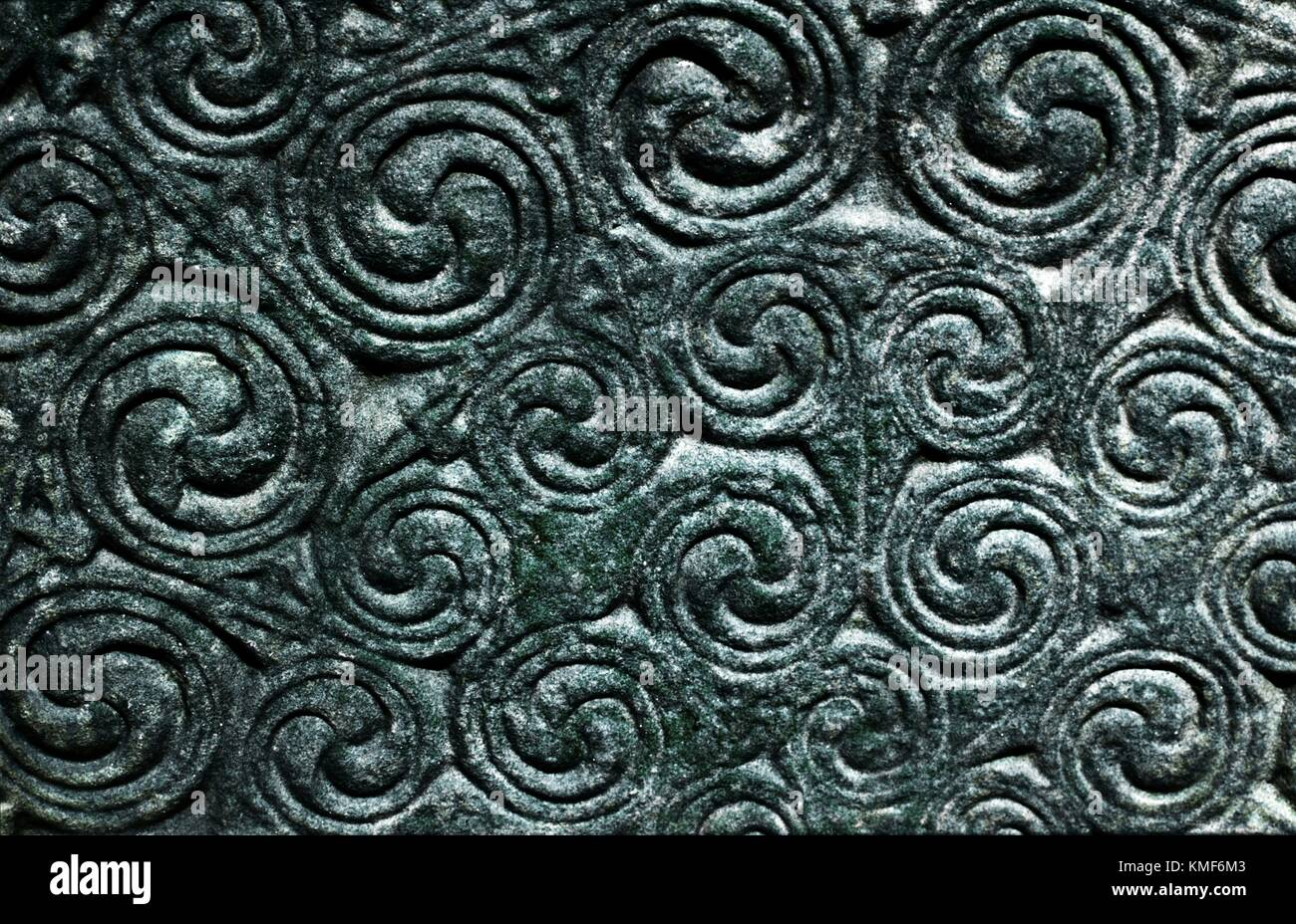 Curvilinear detail of carved Celtic Pictish Christian symbol stone monument at Shandwick, Easter Ross, Highland Region, Scotland Stock Photo