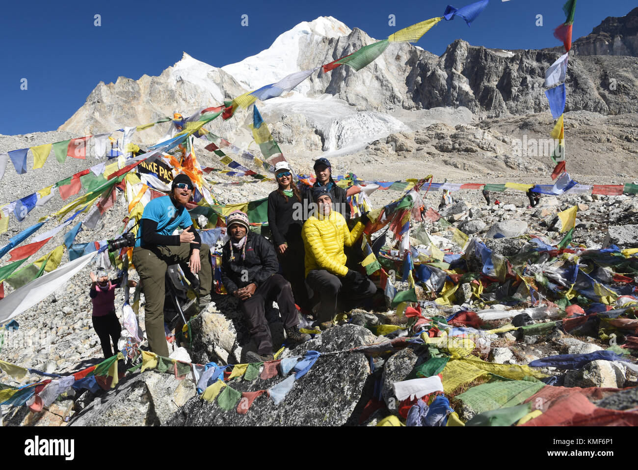On top of the Larkya La Pass, Manaslu Circuit Trek, Nepal - Stock Image