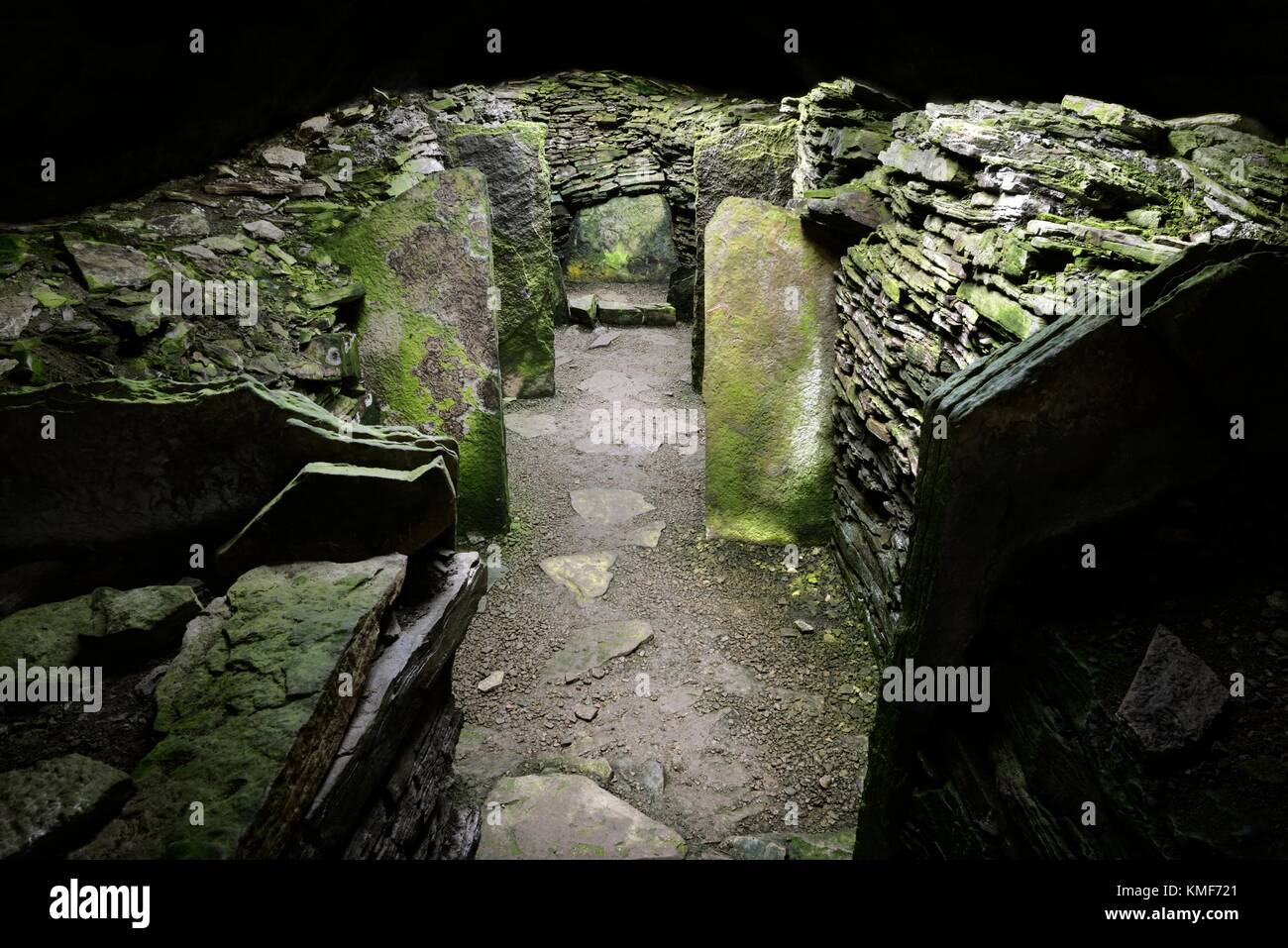 Knowe of Yarso prehistoric chambered stalled cairn Neolithic tomb on island of Rousay, Orkney. Interior. Orkney - Stock Image