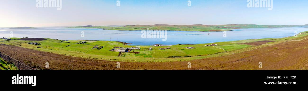 Over Eynhallow Sound looking SW from Knowe of Yarso on island of Rousay to north coast of island of Mainland, Orkney, - Stock Image