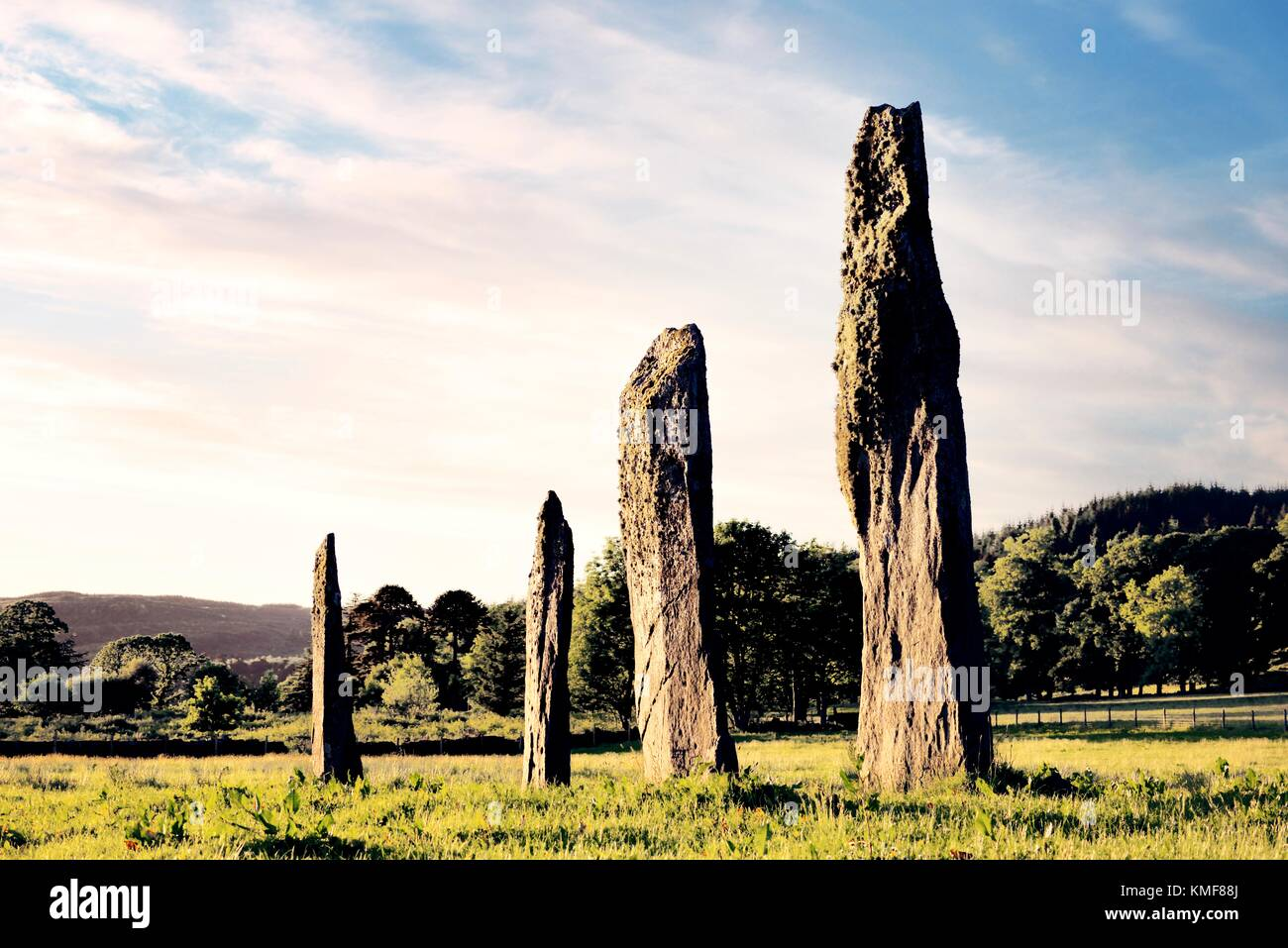 Ballymeanoch prehistoric Neolithic standing stones stone alignment seen from the south. Kilmartin Valley, Argyll, - Stock Image