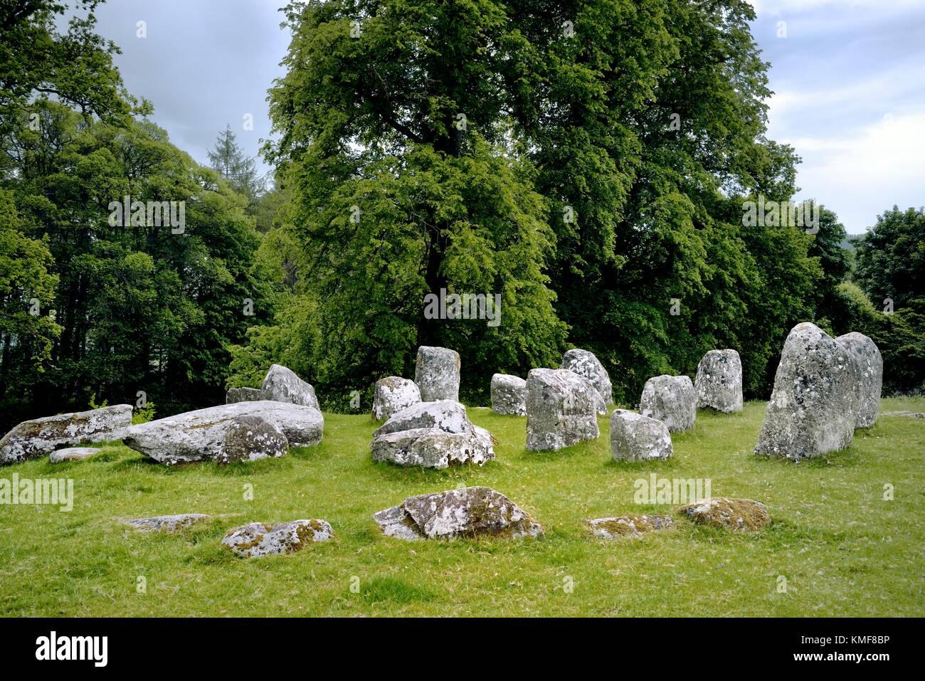 Croft Moraig Croftmoraig complex stone circle. Prehistoric site between Aberfeldy and Kenmore at NE end of Loch - Stock Image