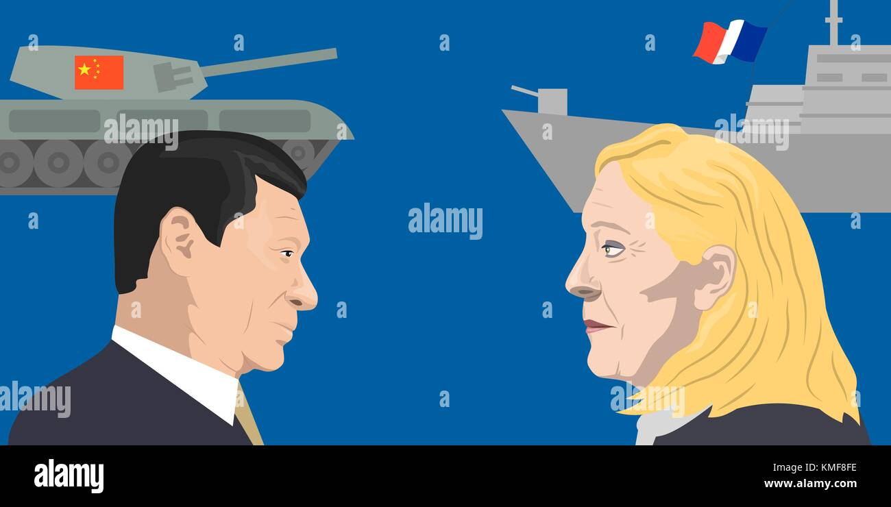 07.12.2018 Editorial illustration of the French politician Marine Le Pen and the President of People s Republic - Stock Vector