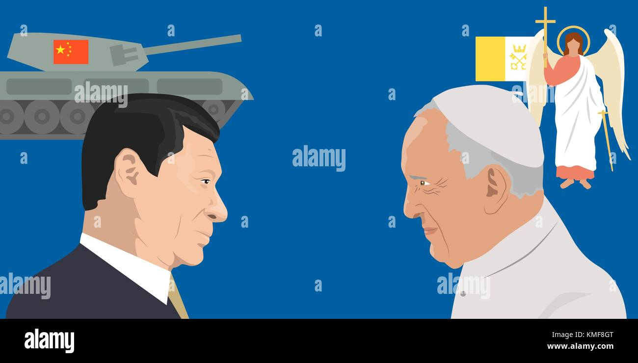 the President of People s Republic of China Xi Jinping and Pope Francisco - Stock Vector