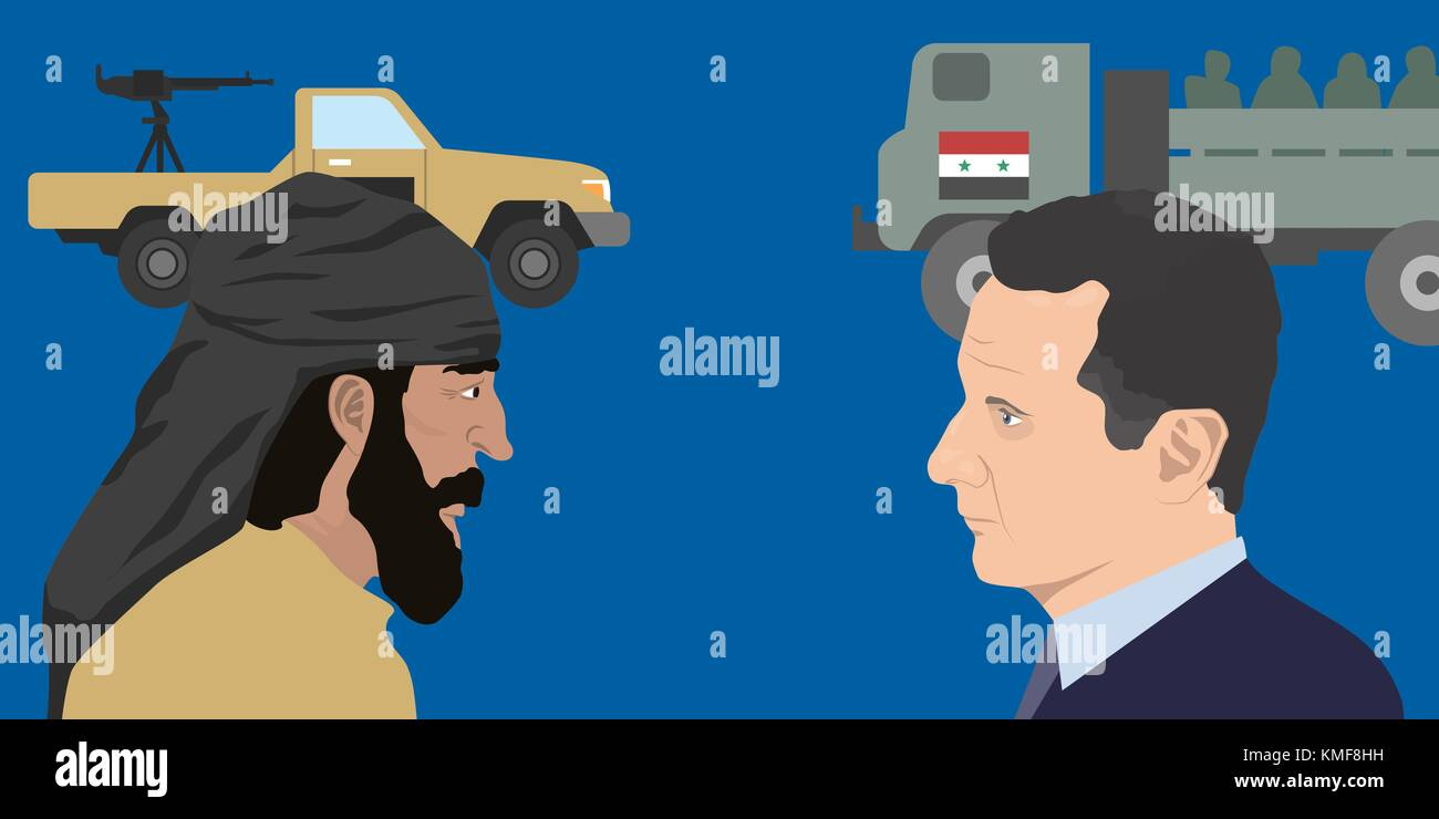 07.12.2018 Editorial illustration of Syria Bashar Al-Assad and the representative of the Middle East - Stock Image