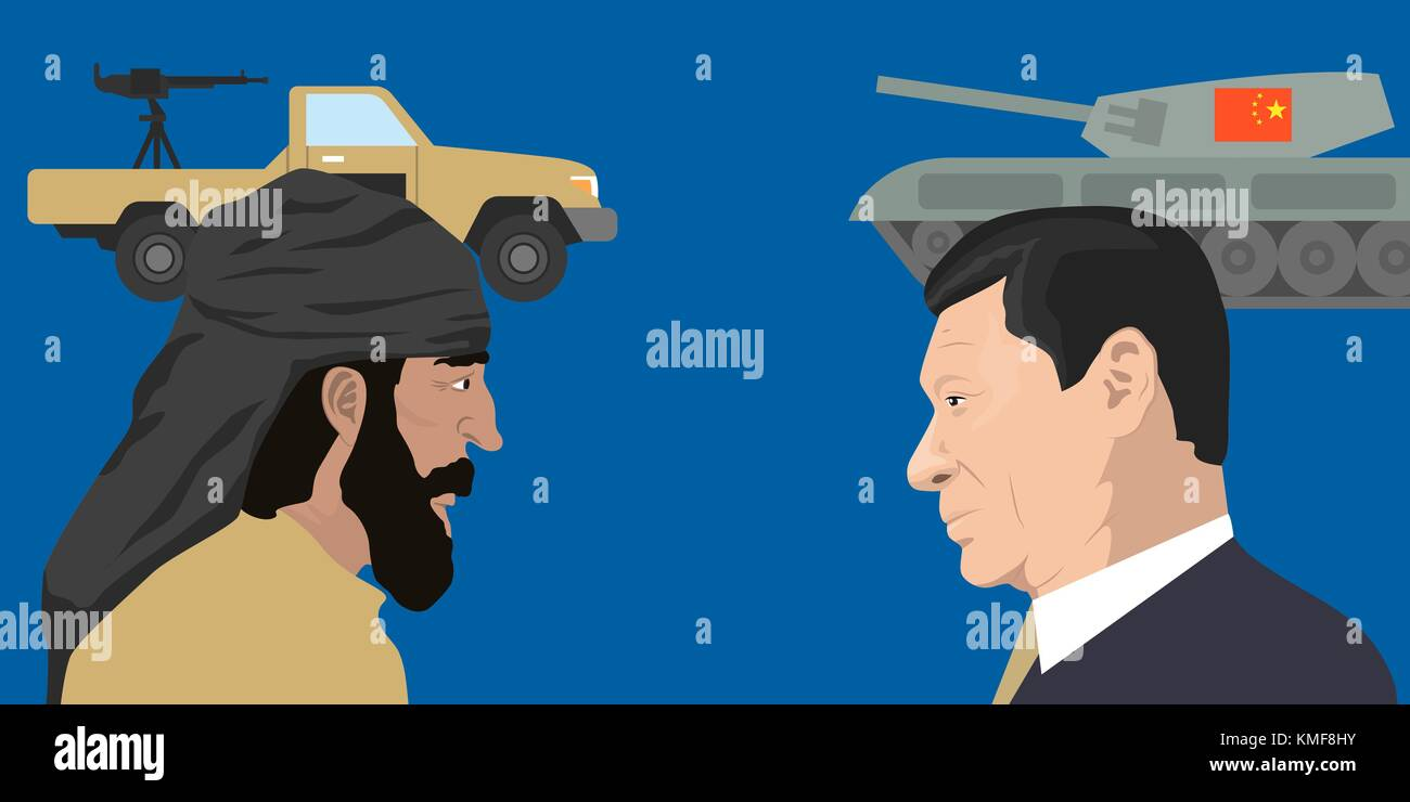 07.12.2018 Editorial illustration of the President of People s Republic of China Xi Jinping against terrorist on - Stock Vector