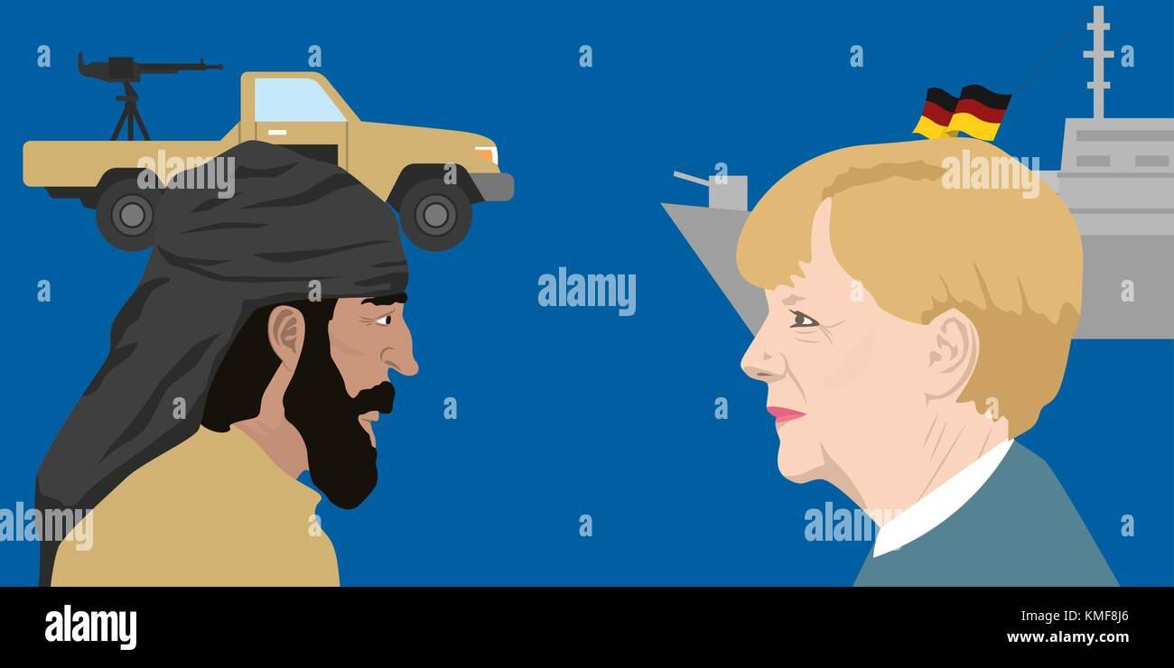 07.12.2018 Editorial illustration of the german chancellor Angella Merkel against terrorist. - Stock Image