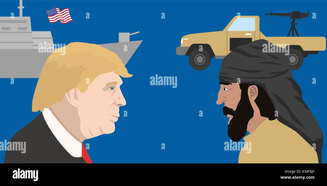 07.12.2018 Editorial illustration of the USA President Donald Trump and the representative of Middle East - Stock Image