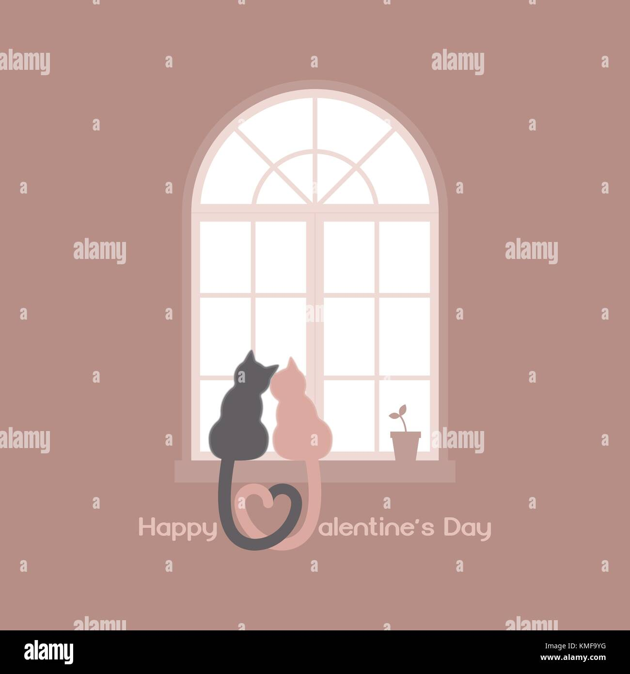 Two cats with heart shaped tails sitting on a windowsill in a room, cuddling each other and looking out a classic - Stock Vector