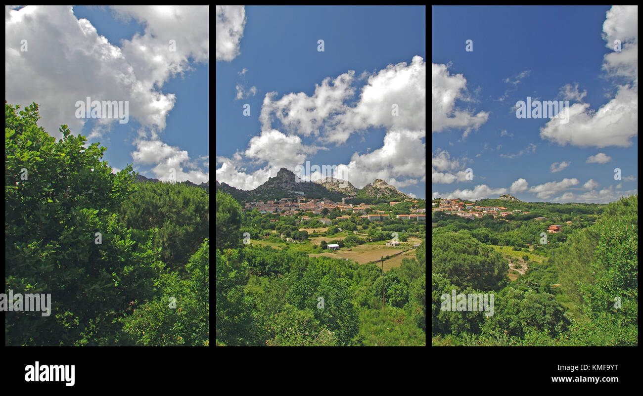 Aggius, Sardinia (Triptych: picture molded into 3 fields for printing decorative panels) - Stock Image