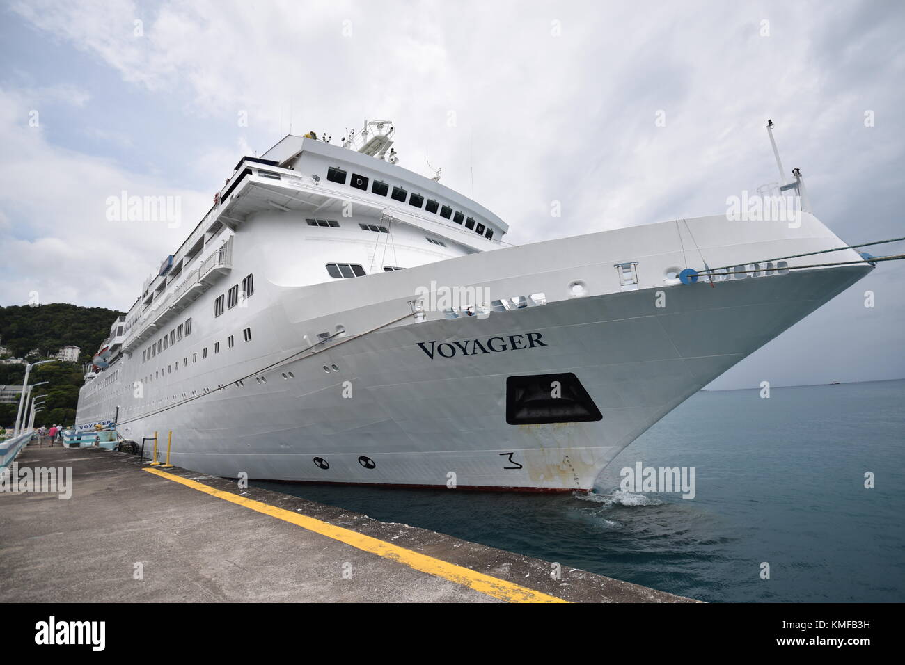 Cuise ship Voyager in Ocho Rios, Jamaica, Caribbean - Stock Image