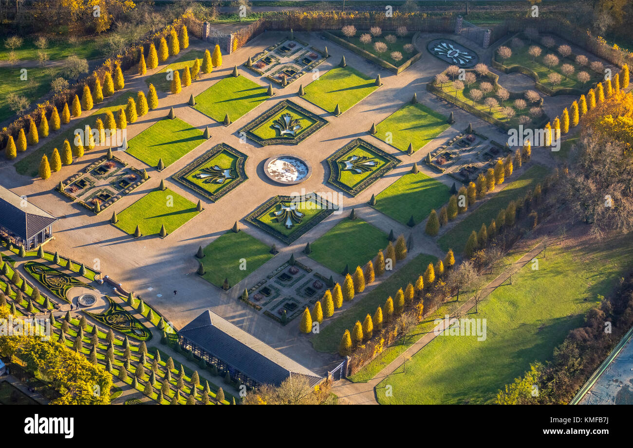 Kamp Monastery with gardens, baroque terraced garden, monastery garden, Kamp-Lintfort, Ruhr area, Lower Rhine - Stock Image