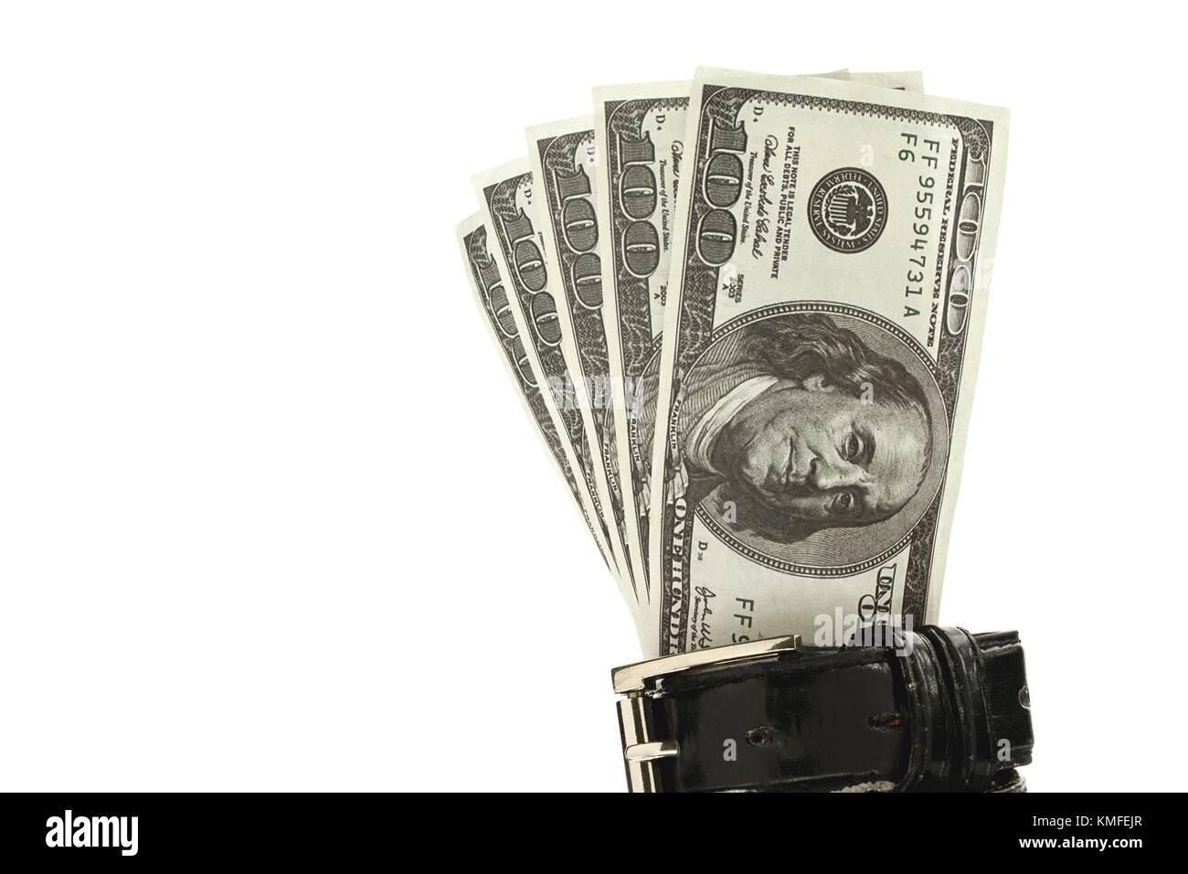 dollars in belt - Stock Image